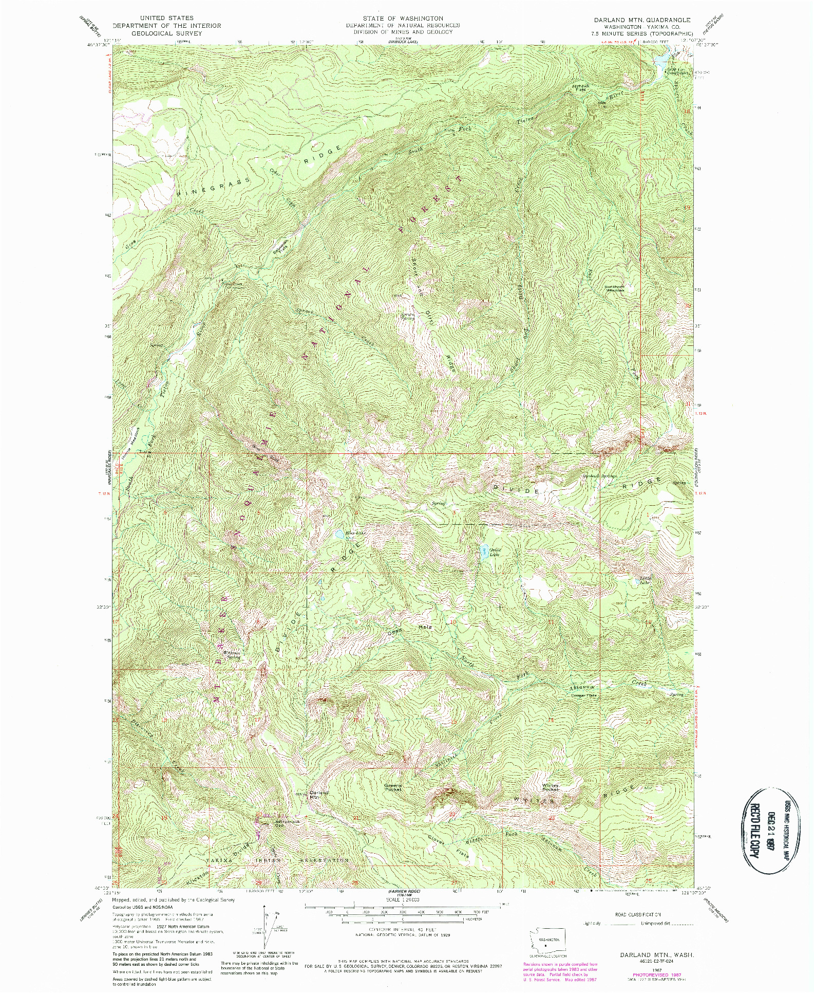 USGS 1:24000-SCALE QUADRANGLE FOR DARLAND MTN, WA 1967
