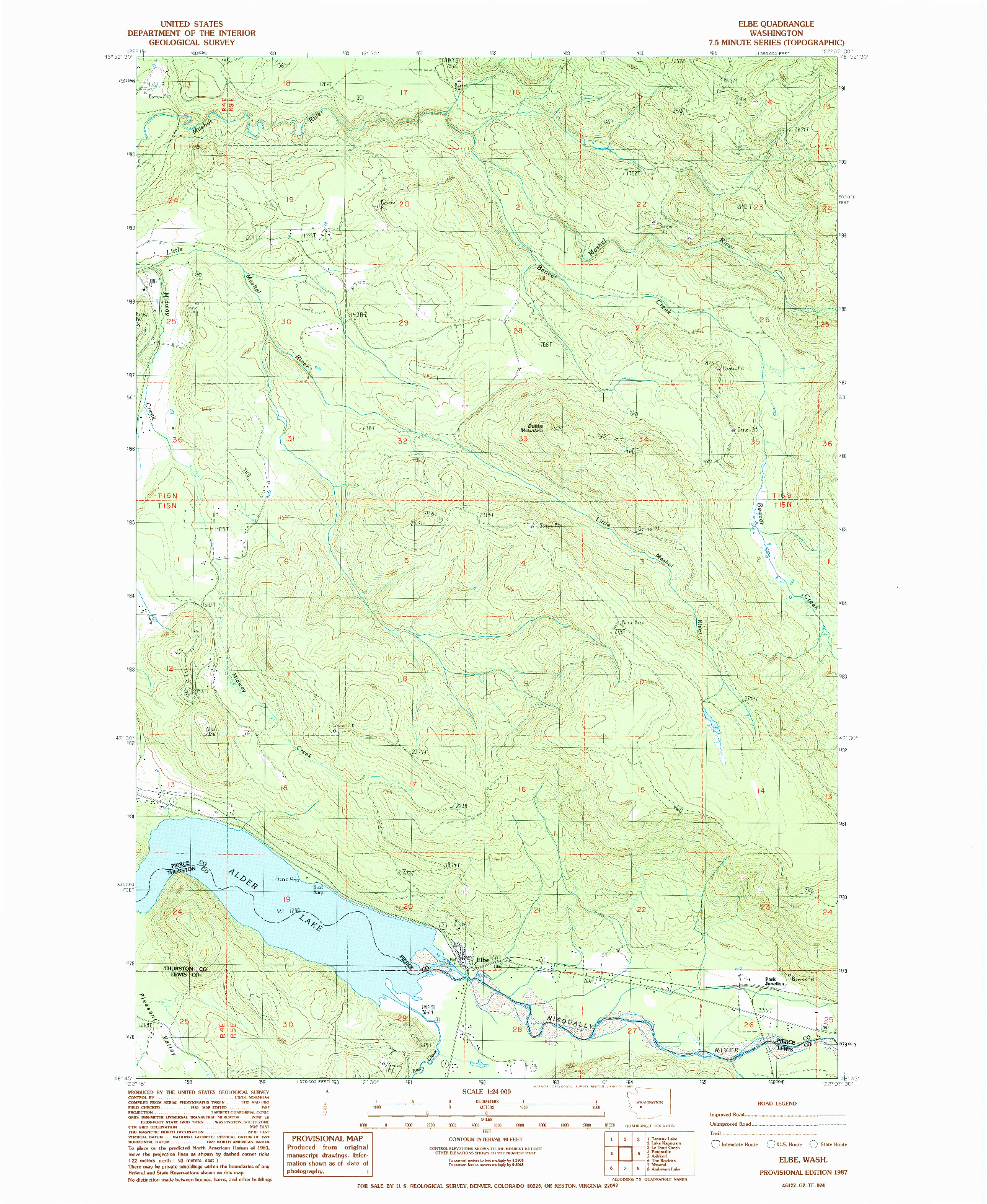 USGS 1:24000-SCALE QUADRANGLE FOR ELBE, WA 1987