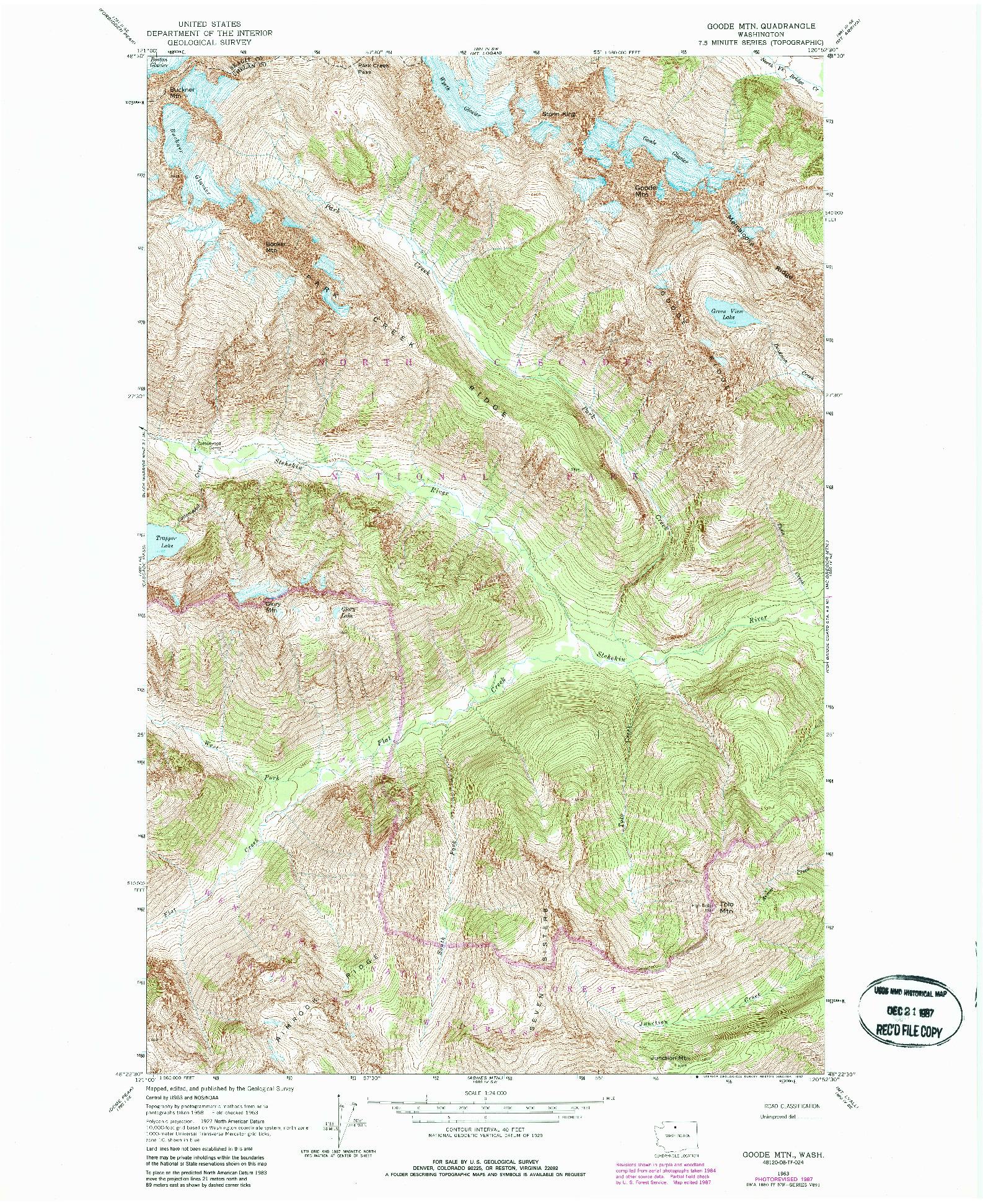 USGS 1:24000-SCALE QUADRANGLE FOR GOODE MTN, WA 1963