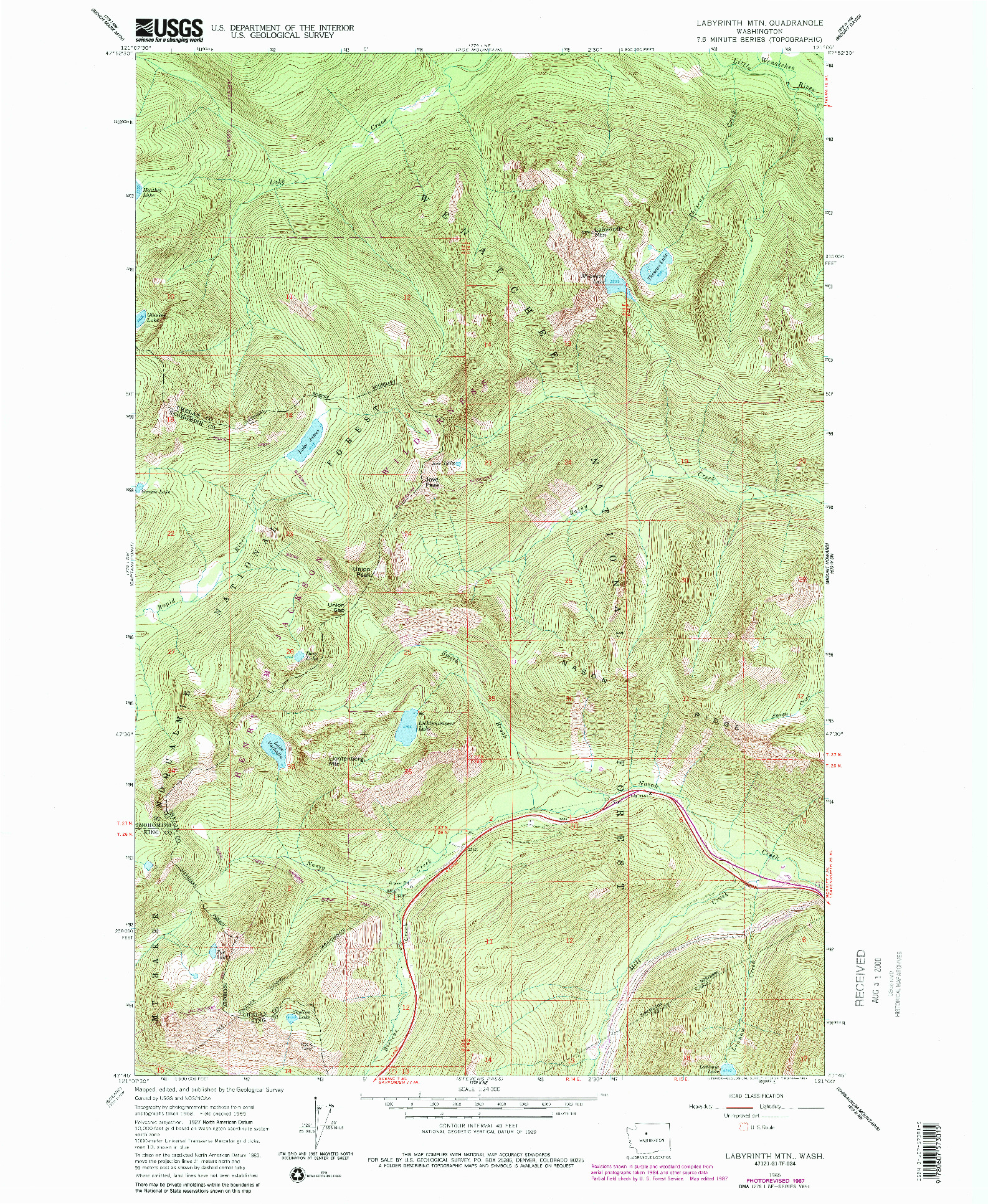 USGS 1:24000-SCALE QUADRANGLE FOR LABYRINTH MTN, WA 1965