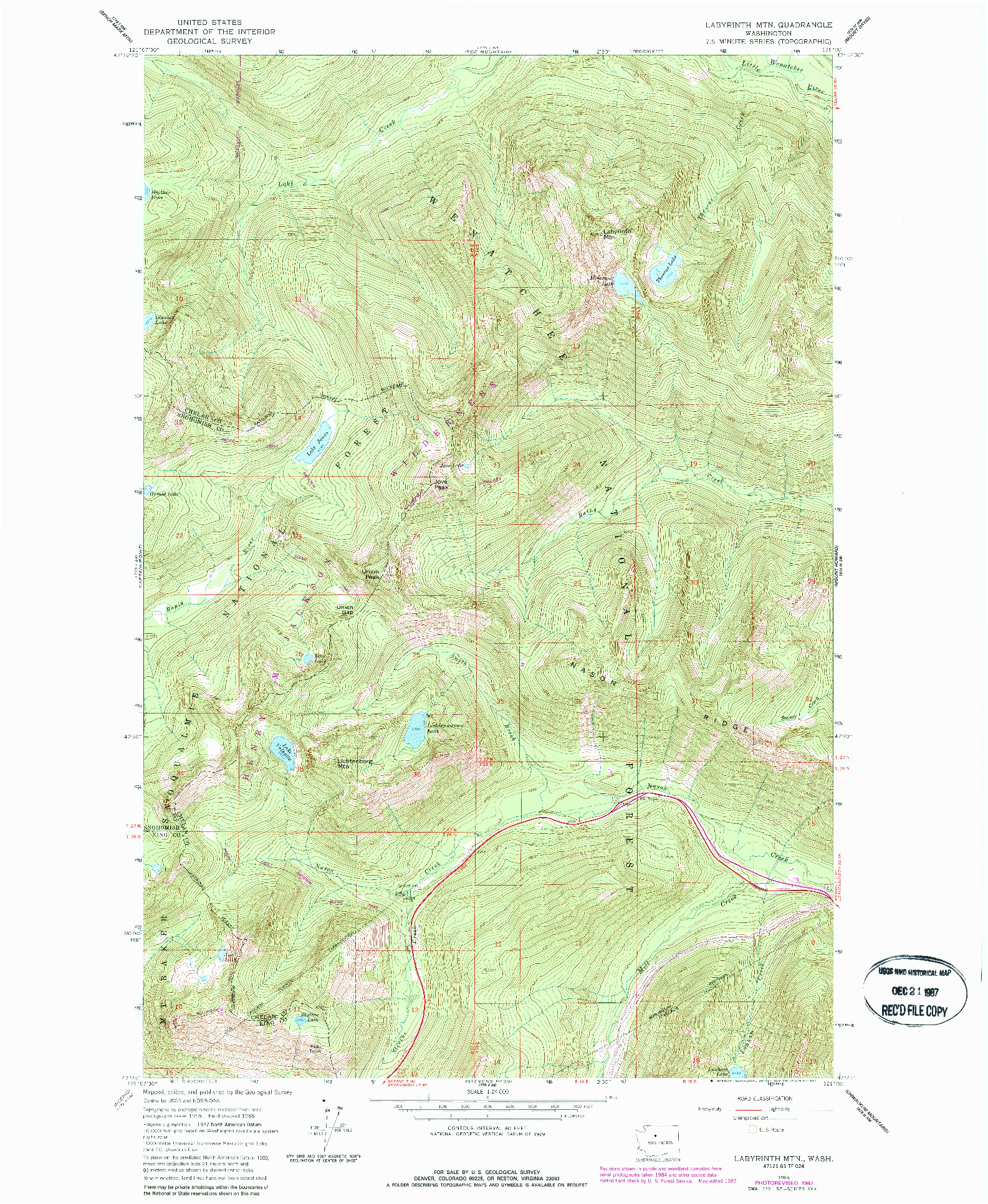 USGS 1:24000-SCALE QUADRANGLE FOR LABYRINTH MTN, WA 1965