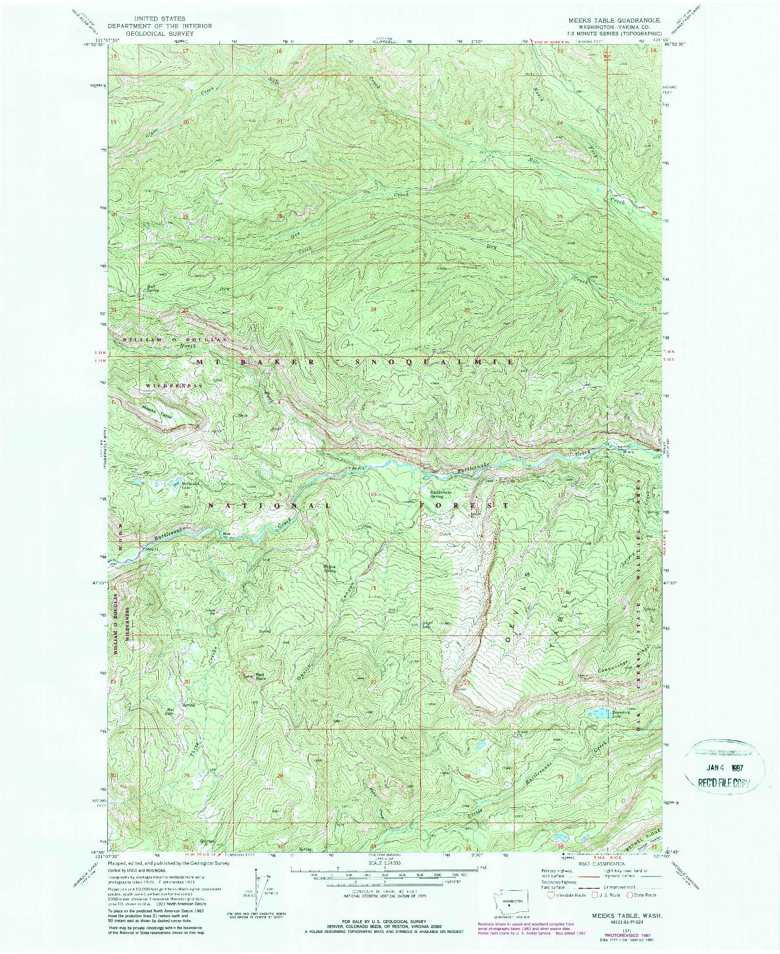 USGS 1:24000-SCALE QUADRANGLE FOR MEEKS TABLE, WA 1971