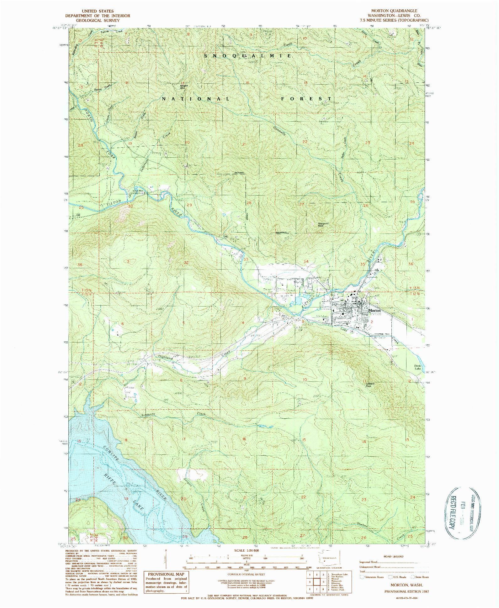 USGS 1:24000-SCALE QUADRANGLE FOR MORTON, WA 1987