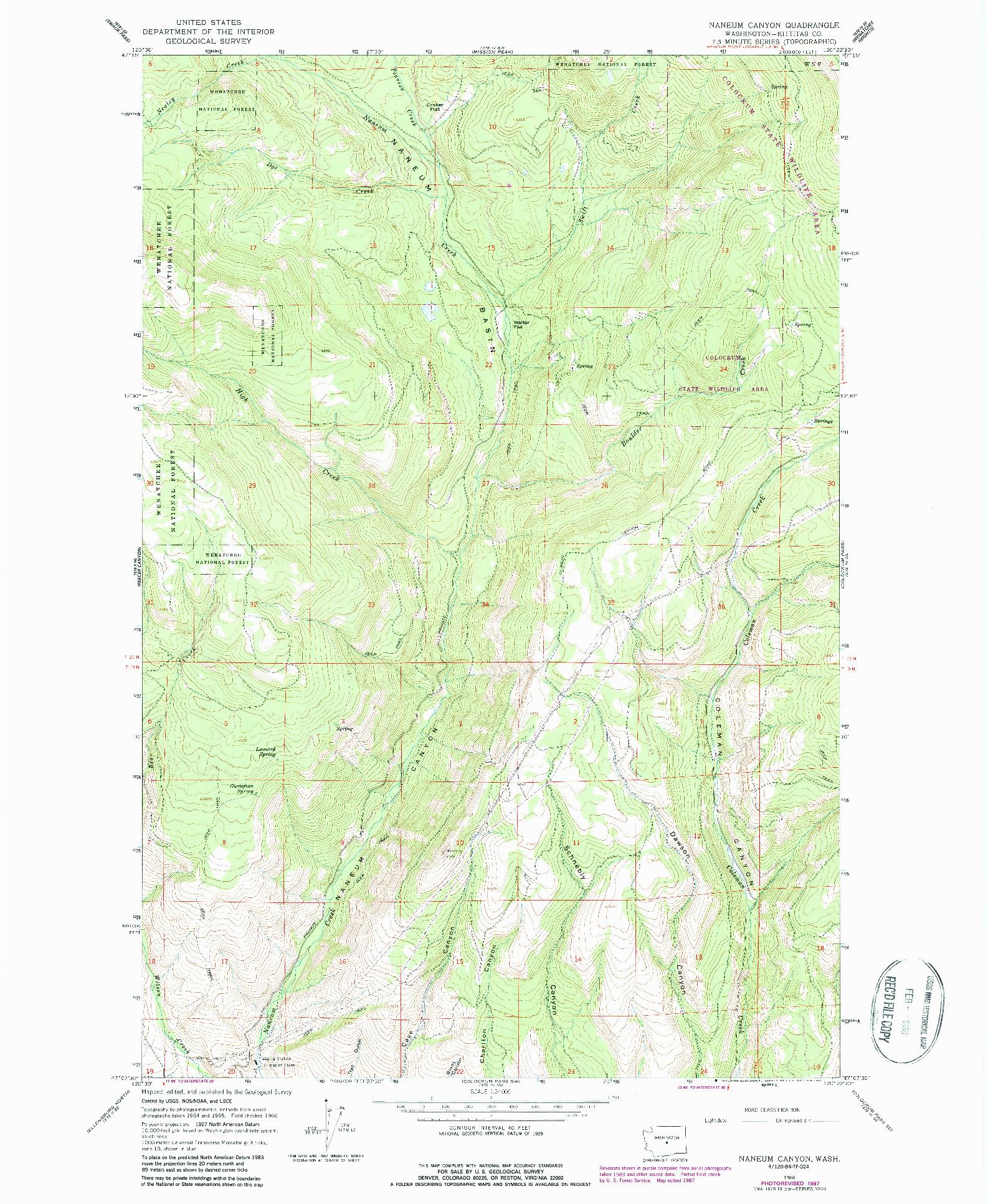 USGS 1:24000-SCALE QUADRANGLE FOR NANEUM CANYON, WA 1966