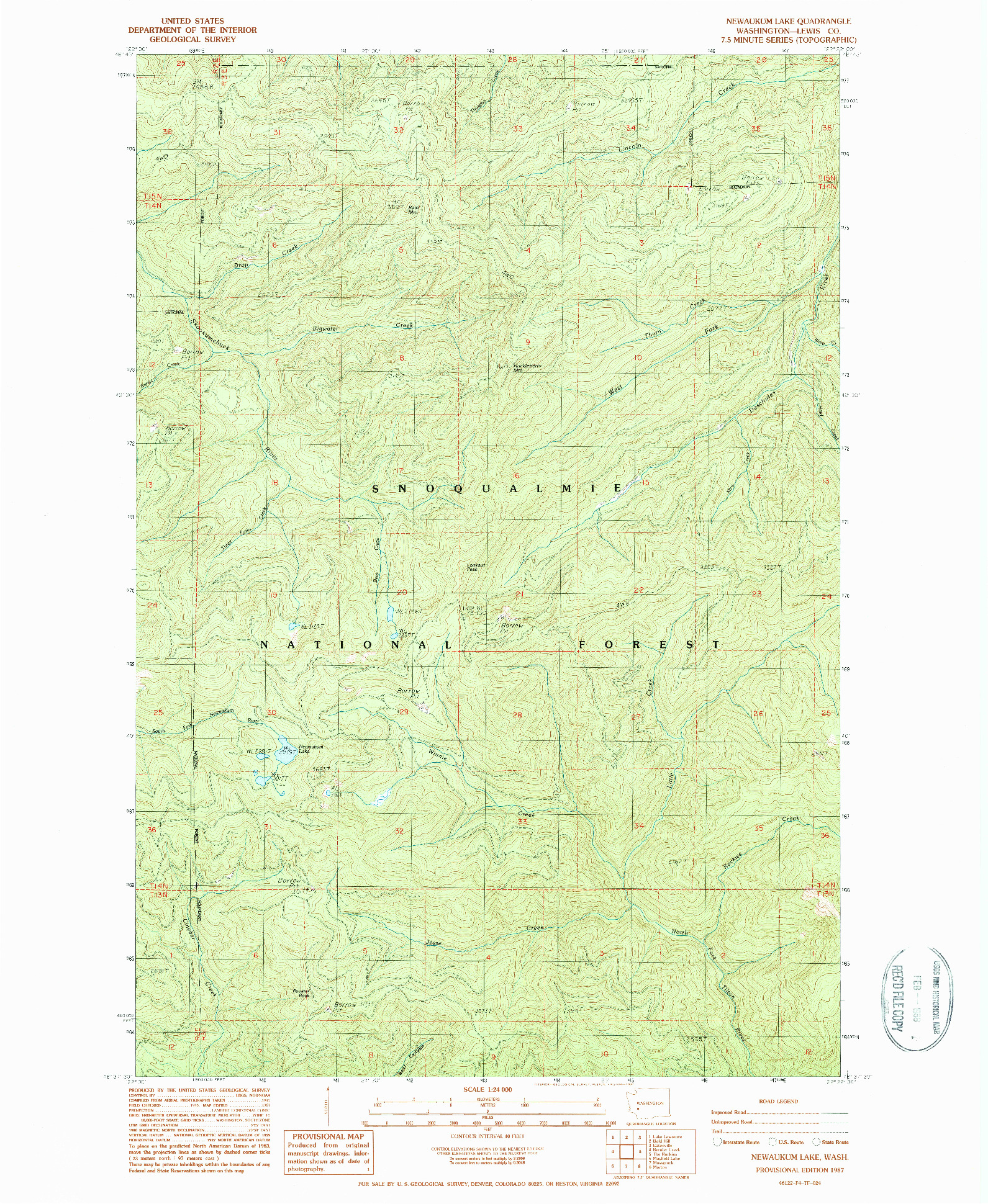 USGS 1:24000-SCALE QUADRANGLE FOR NEWAUKUM LAKE, WA 1987
