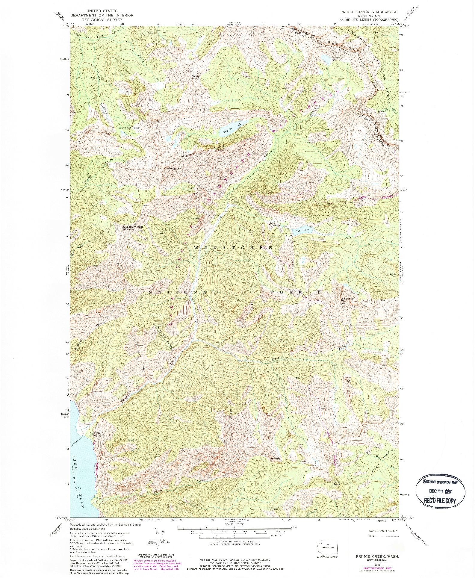 USGS 1:24000-SCALE QUADRANGLE FOR PRINCE CREEK, WA 1969