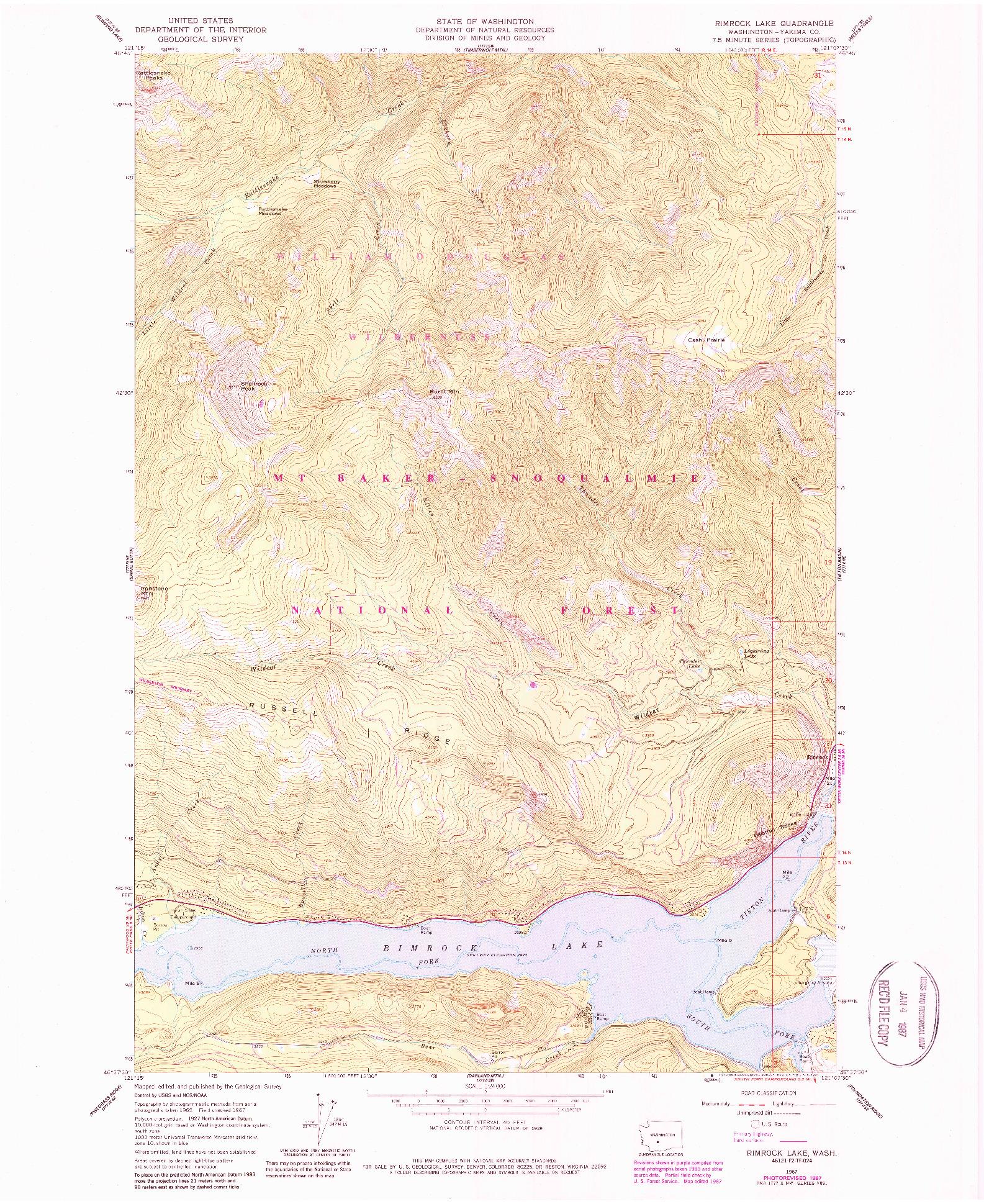 USGS 1:24000-SCALE QUADRANGLE FOR RIMROCK LAKE, WA 1967