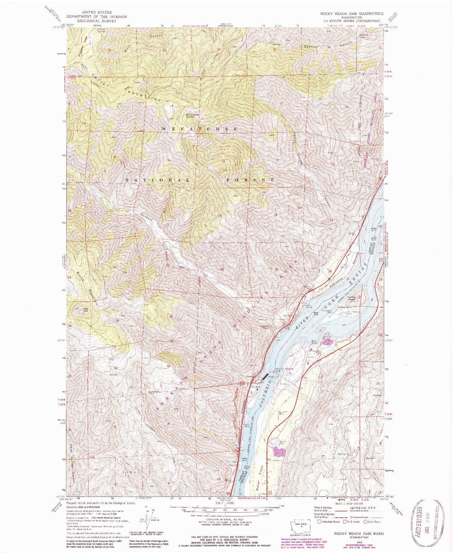USGS 1:24000-SCALE QUADRANGLE FOR ROCKY REACH DAM, WA 1968