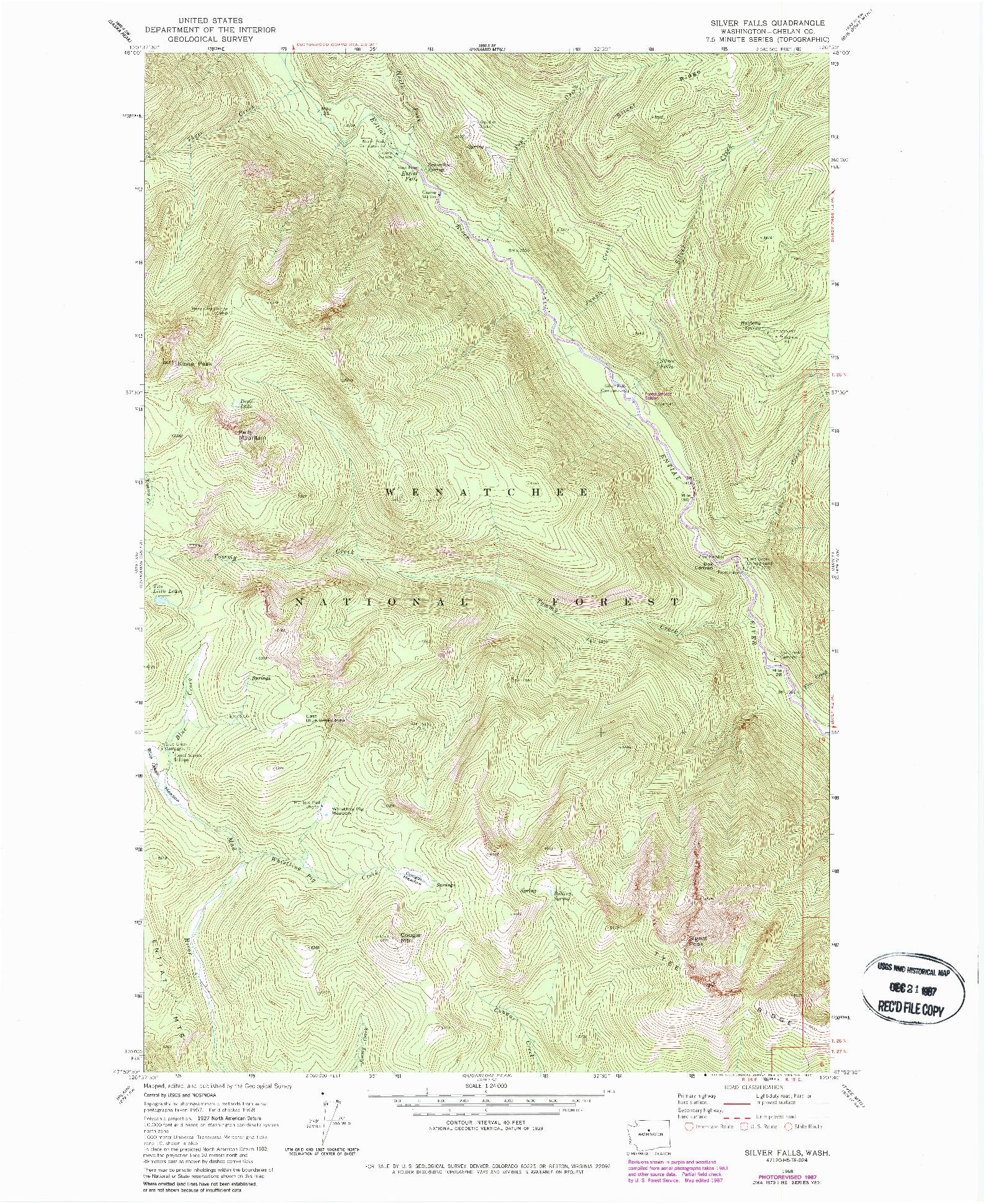 USGS 1:24000-SCALE QUADRANGLE FOR SILVER FALLS, WA 1968