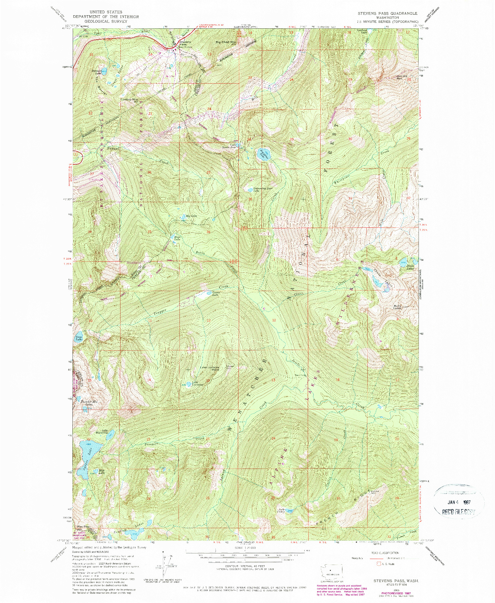 USGS 1:24000-SCALE QUADRANGLE FOR STEVENS PASS, WA 1965