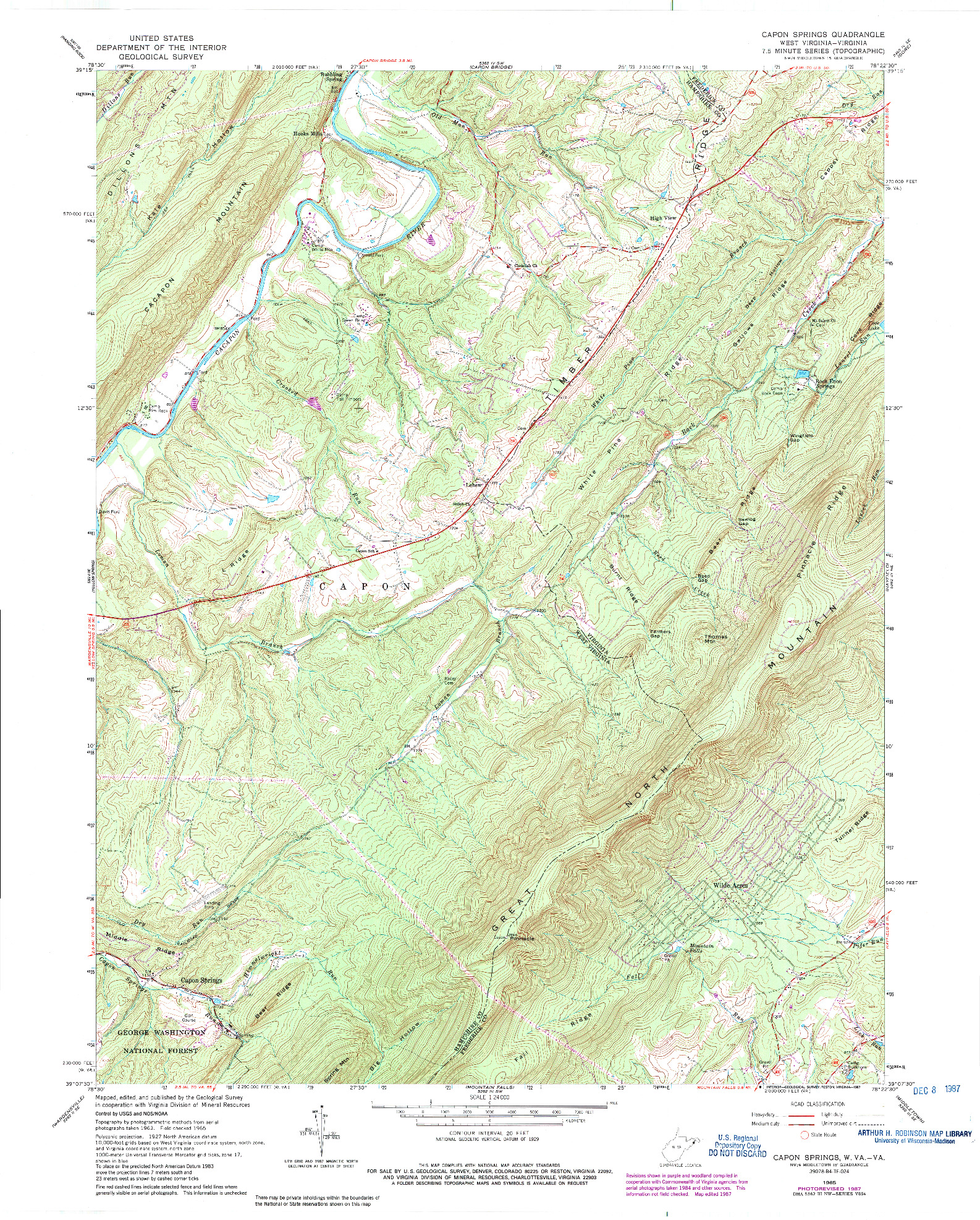 USGS 1:24000-SCALE QUADRANGLE FOR CAPON SPRINGS, WV 1965