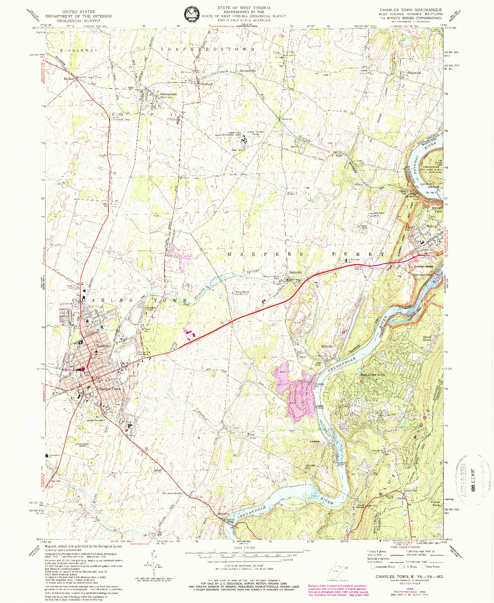 USGS 1:24000-SCALE QUADRANGLE FOR CHARLES TOWN, WV 1978