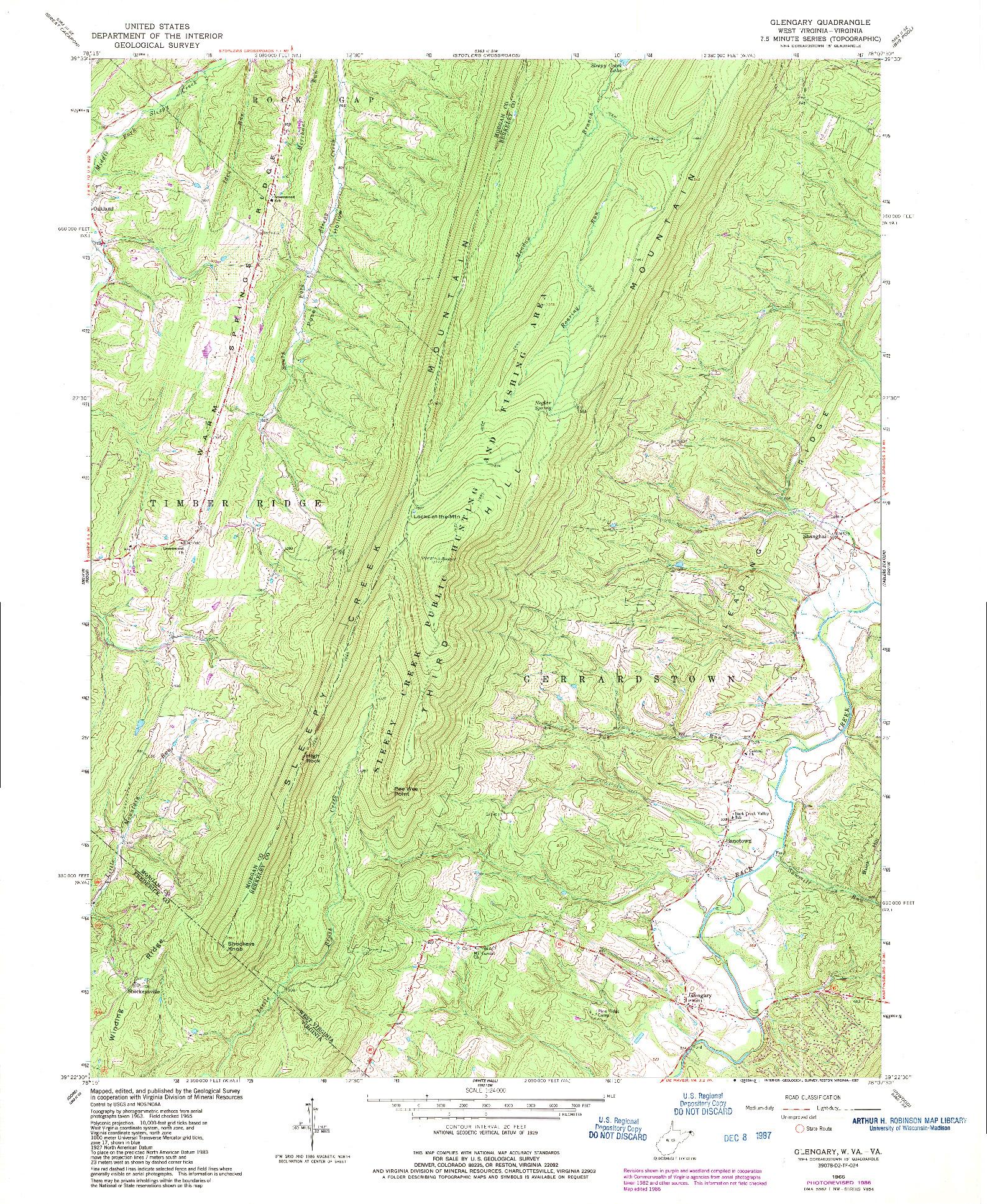 USGS 1:24000-SCALE QUADRANGLE FOR GLENGARY, WV 1965