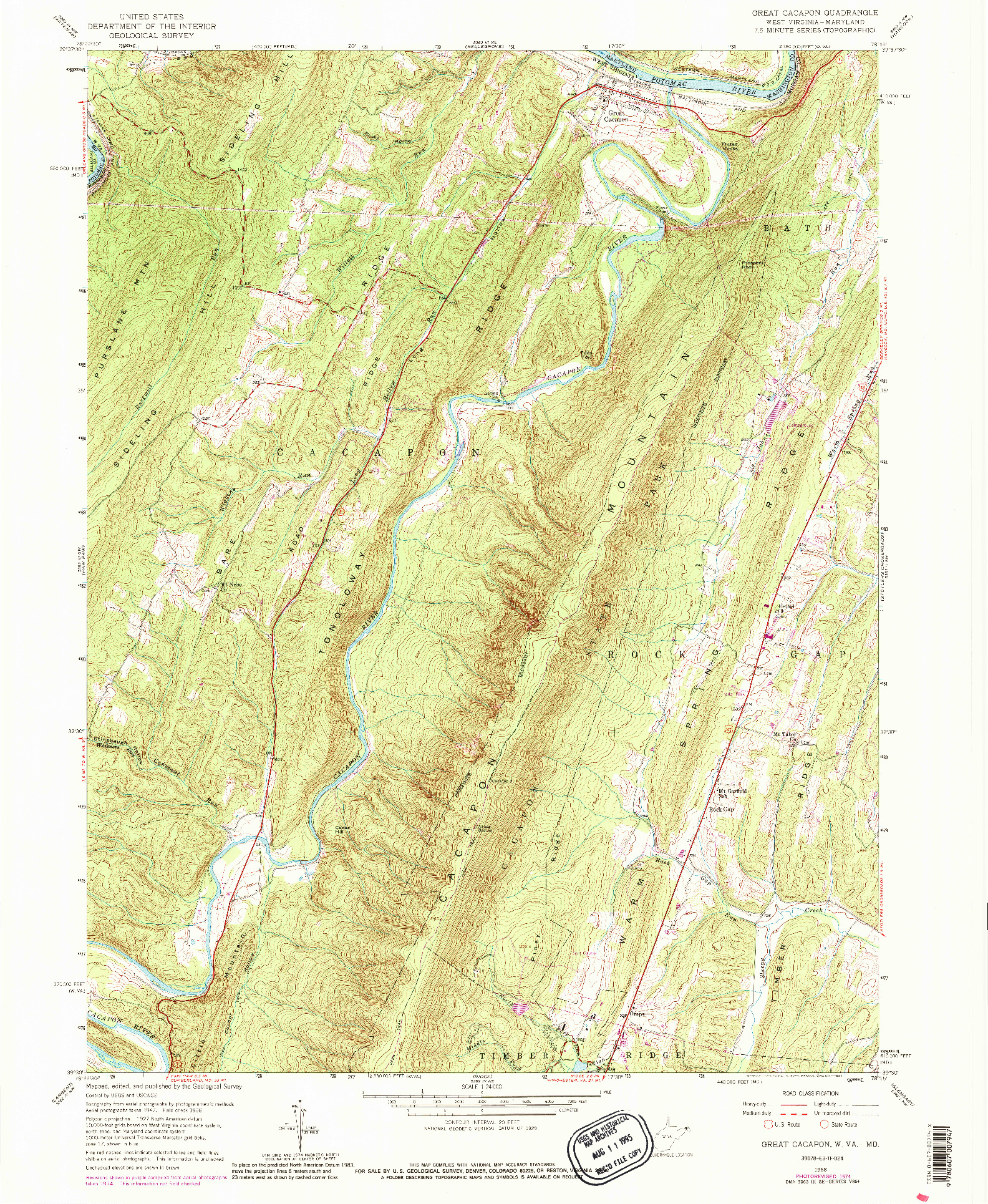 USGS 1:24000-SCALE QUADRANGLE FOR GREAT CACAPON, WV 1958