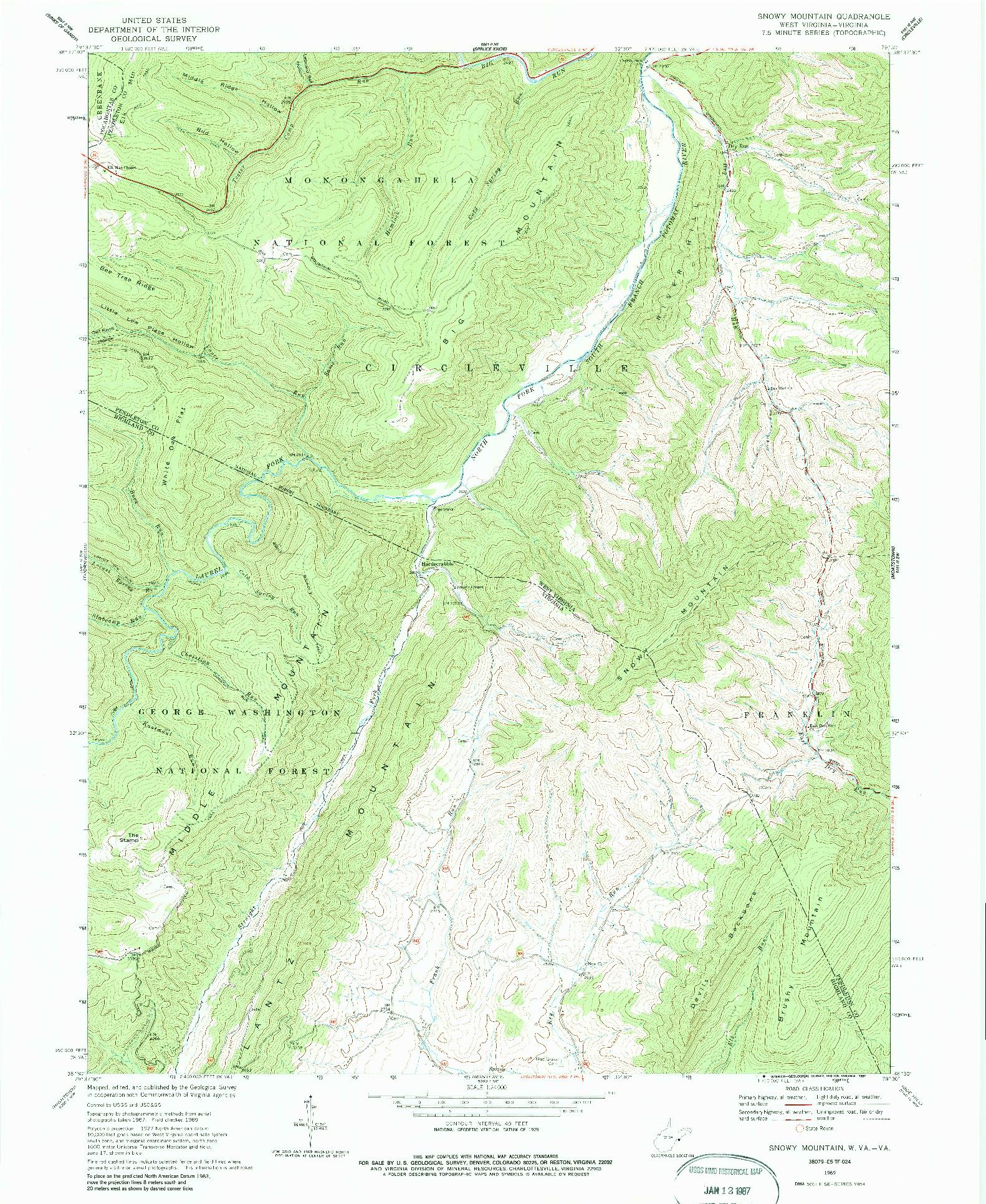 USGS 1:24000-SCALE QUADRANGLE FOR SNOWY MOUNTAIN, WV 1969