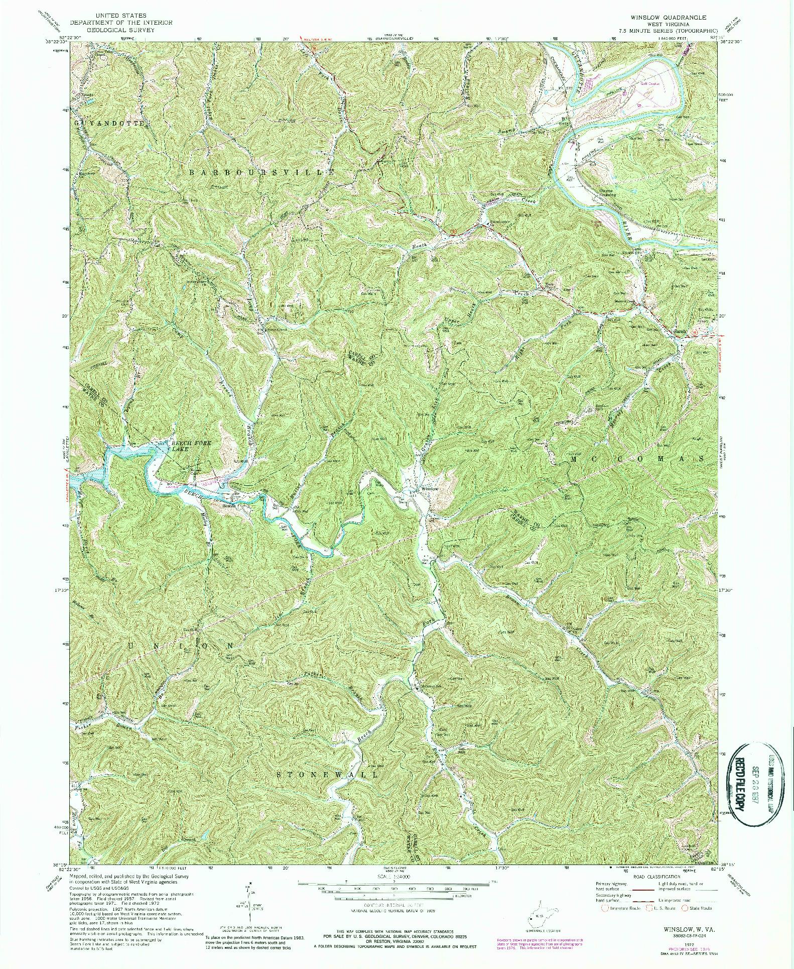USGS 1:24000-SCALE QUADRANGLE FOR WINSLOW, WV 1972