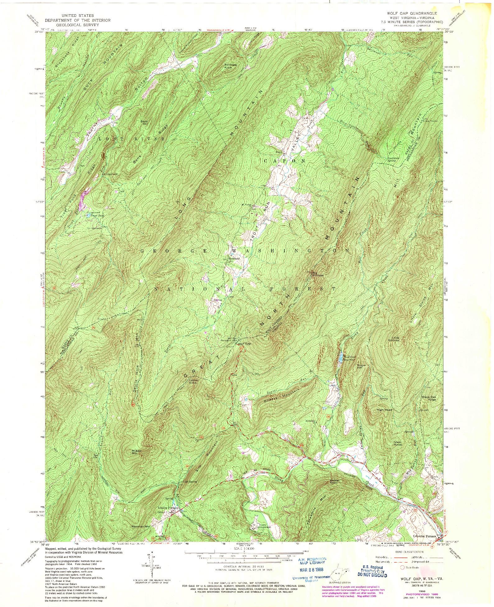USGS 1:24000-SCALE QUADRANGLE FOR WOLF GAP, WV 1966