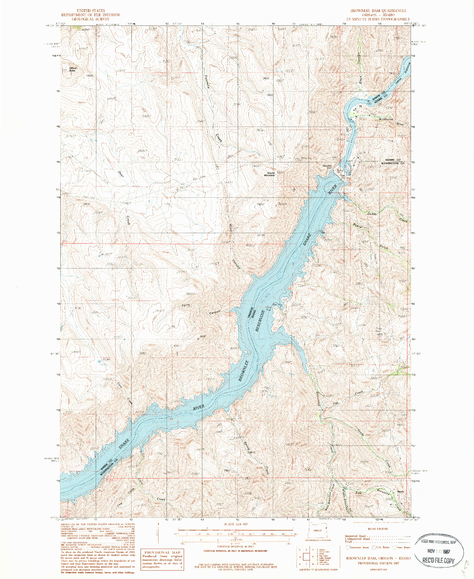 USGS 1:24000-SCALE QUADRANGLE FOR BROWNLEE DAM, OR 1987