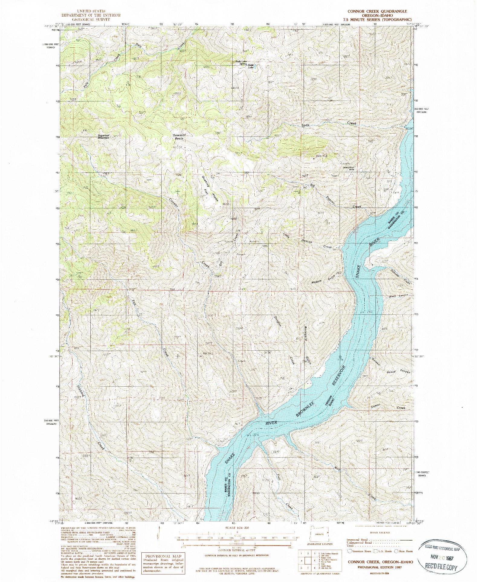 USGS 1:24000-SCALE QUADRANGLE FOR CONNOR CREEK, OR 1987