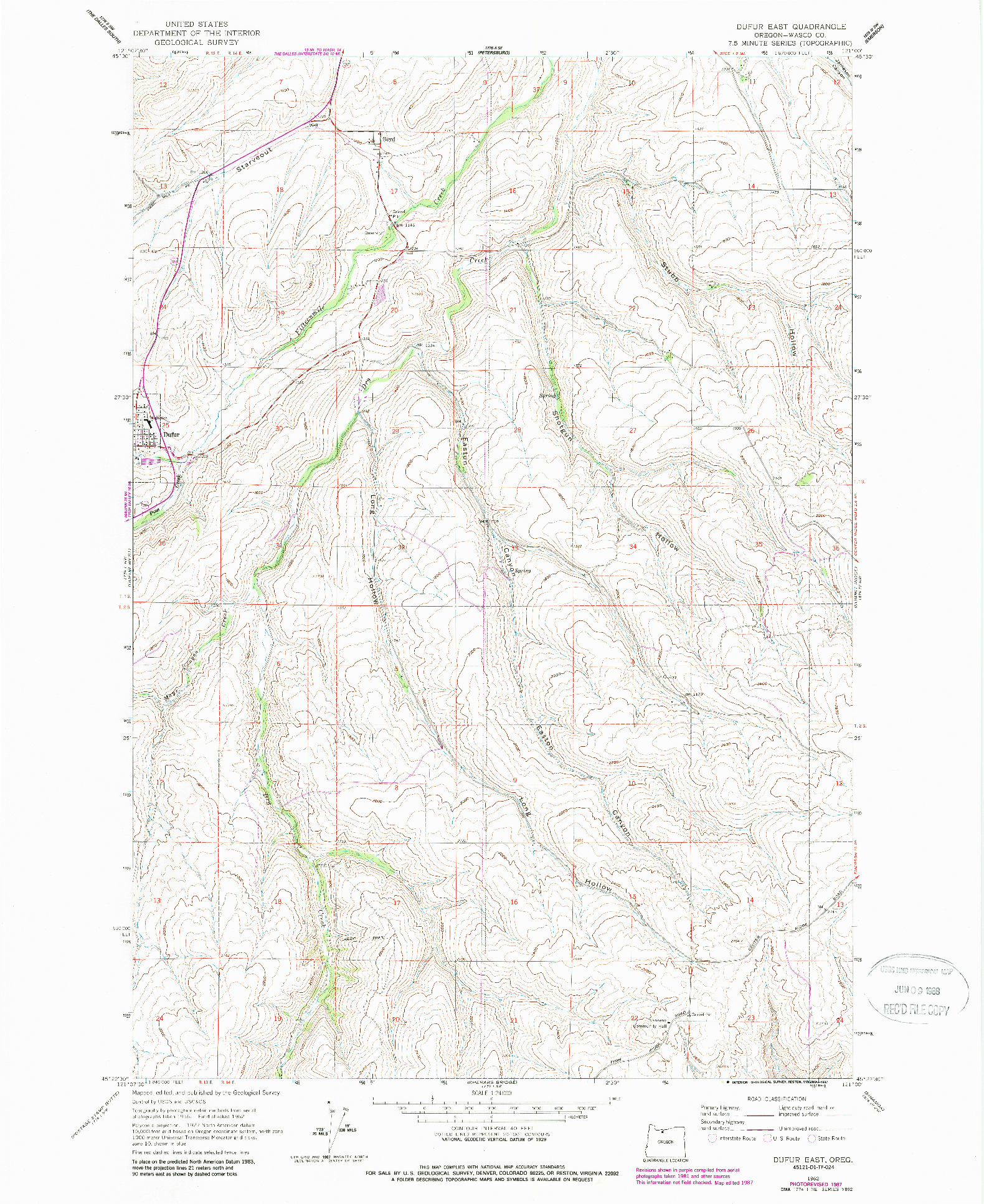 USGS 1:24000-SCALE QUADRANGLE FOR DUFUR EAST, OR 1962