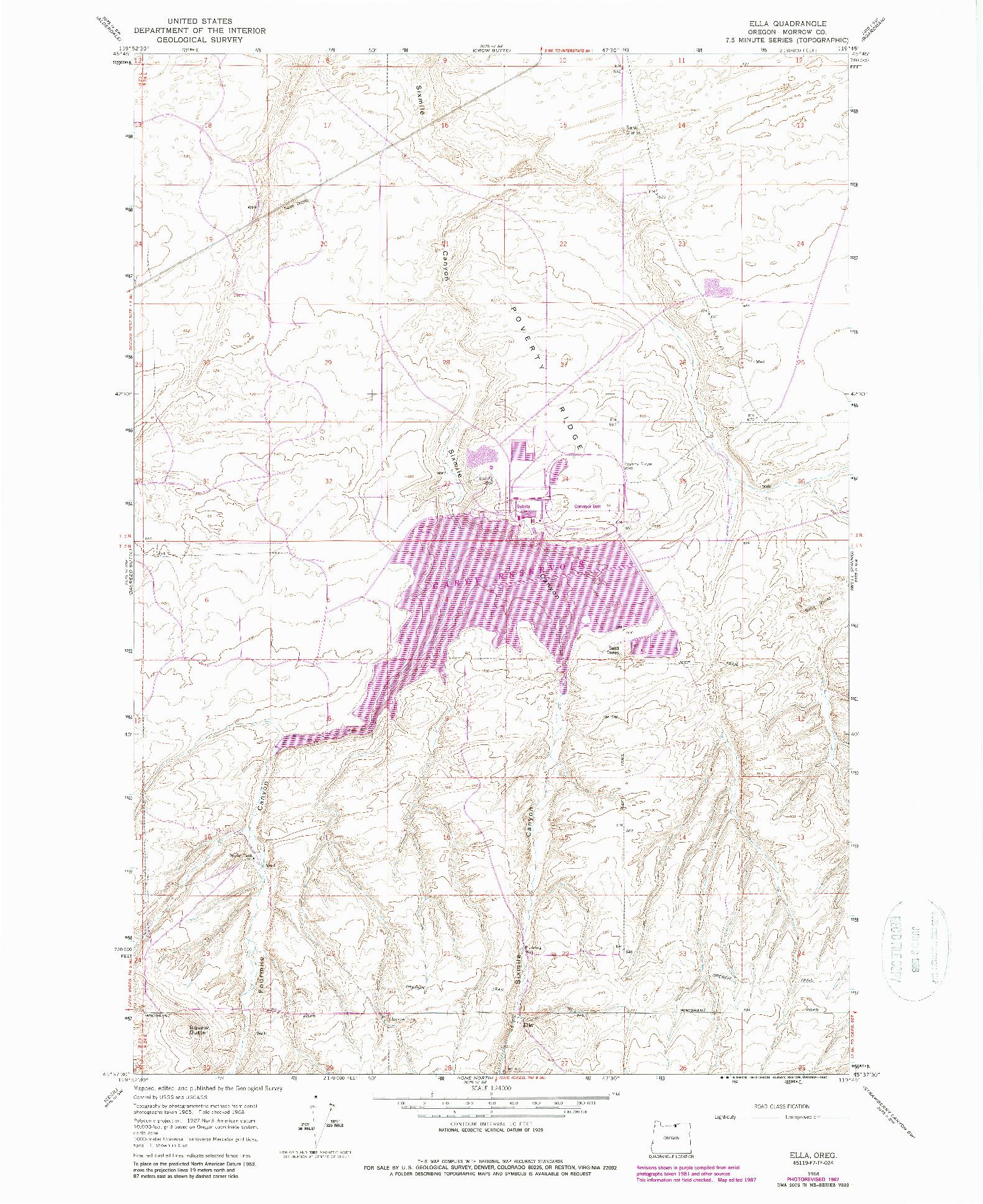 USGS 1:24000-SCALE QUADRANGLE FOR ELLA, OR 1968