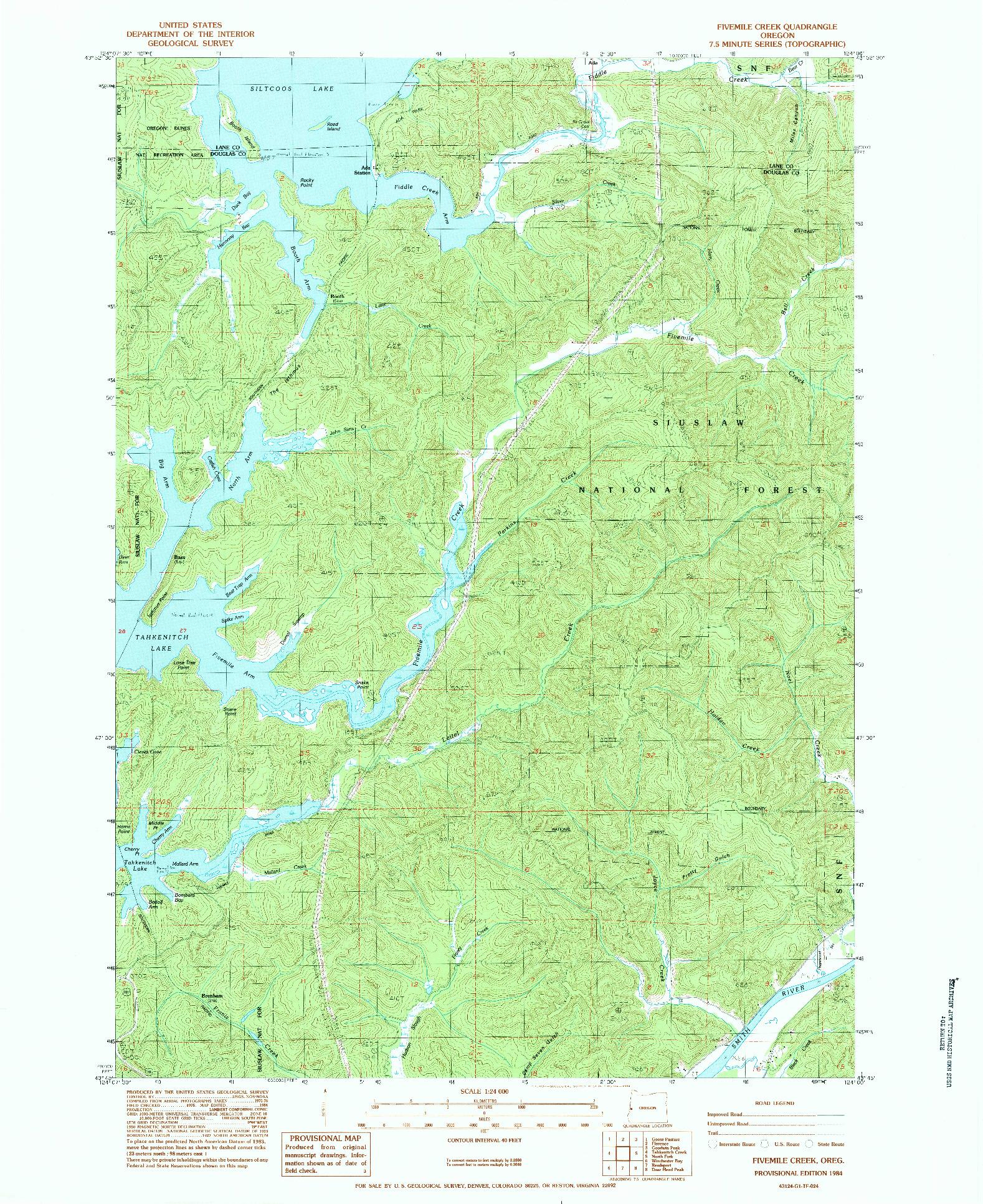 USGS 1:24000-SCALE QUADRANGLE FOR FIVEMILE CREEK, OR 1984