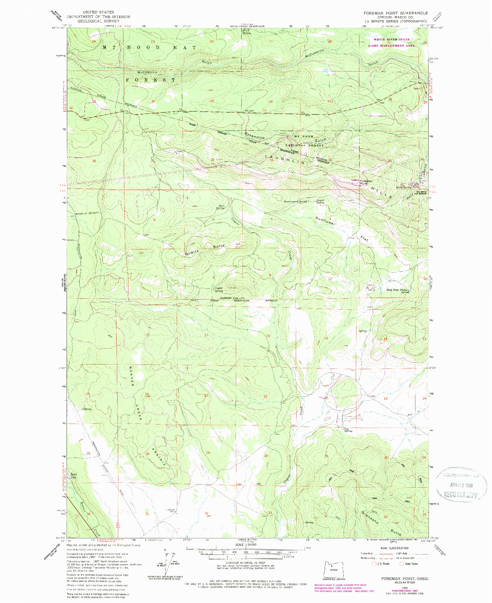 USGS 1:24000-SCALE QUADRANGLE FOR FOREMAN POINT, OR 1962