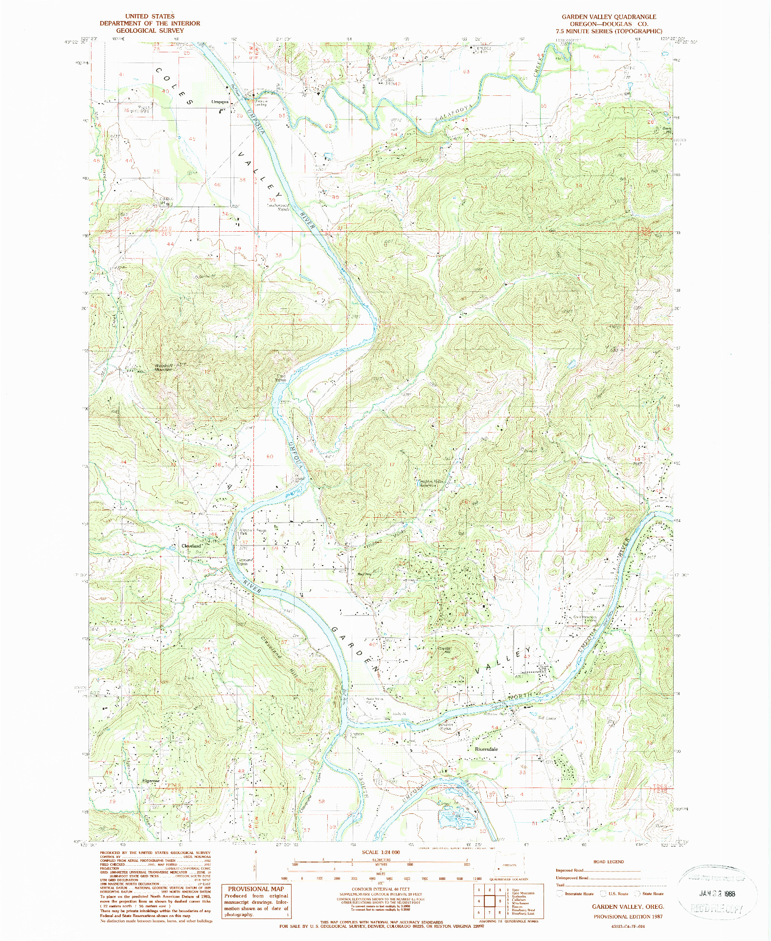 USGS 1:24000-SCALE QUADRANGLE FOR GARDEN VALLEY, OR 1987