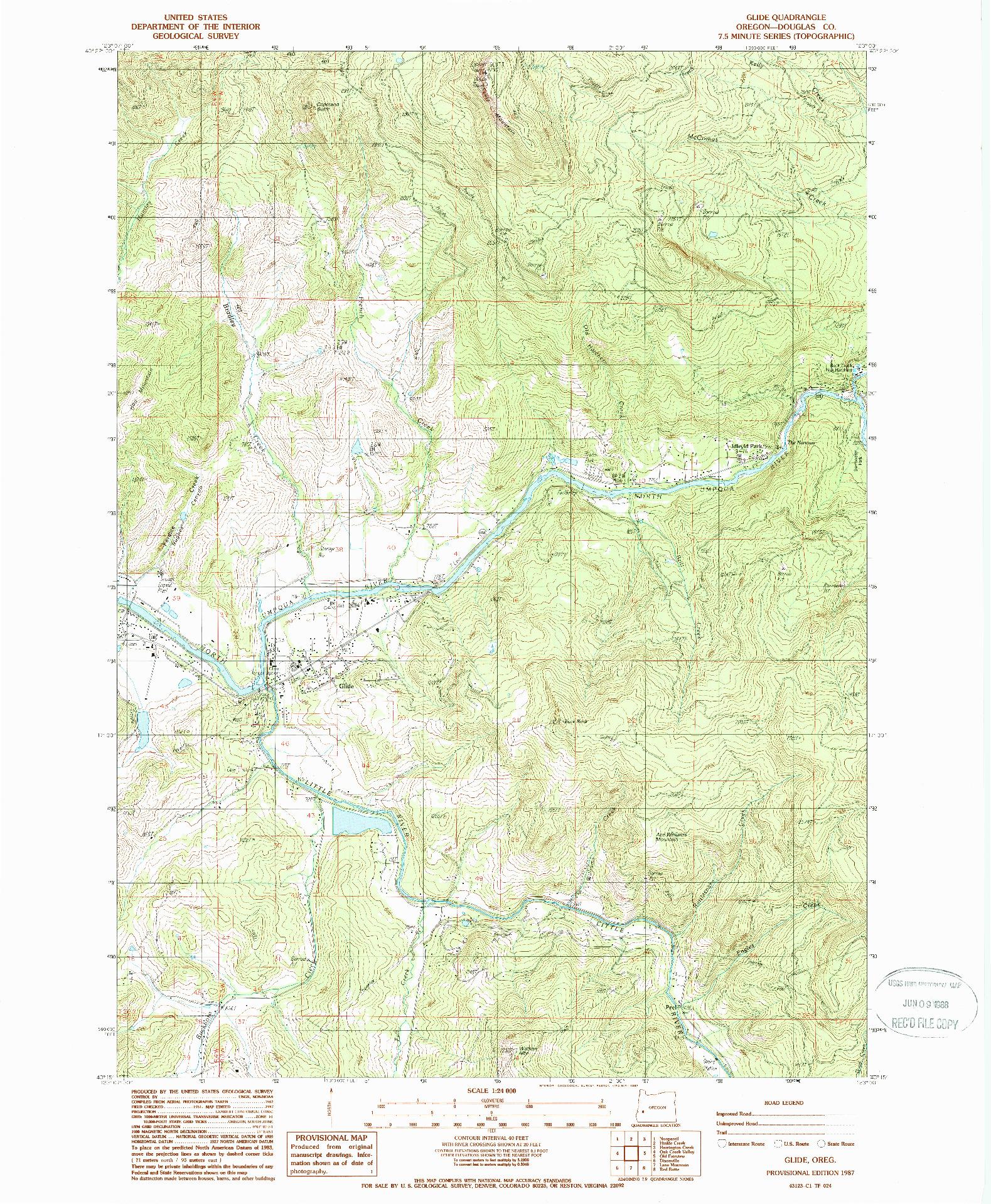USGS 1:24000-SCALE QUADRANGLE FOR GLIDE, OR 1987