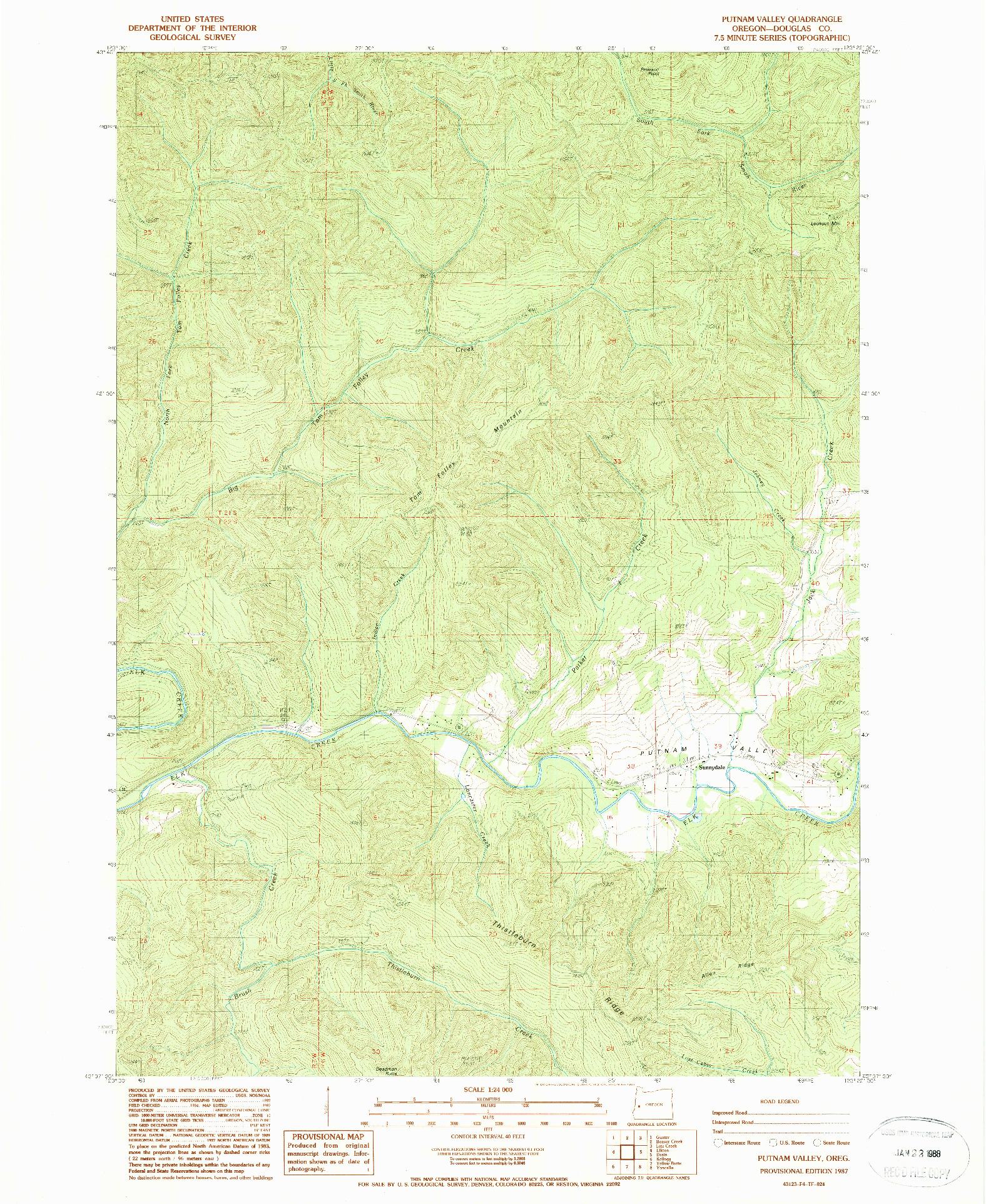 USGS 1:24000-SCALE QUADRANGLE FOR PUTNAM VALLEY, OR 1987