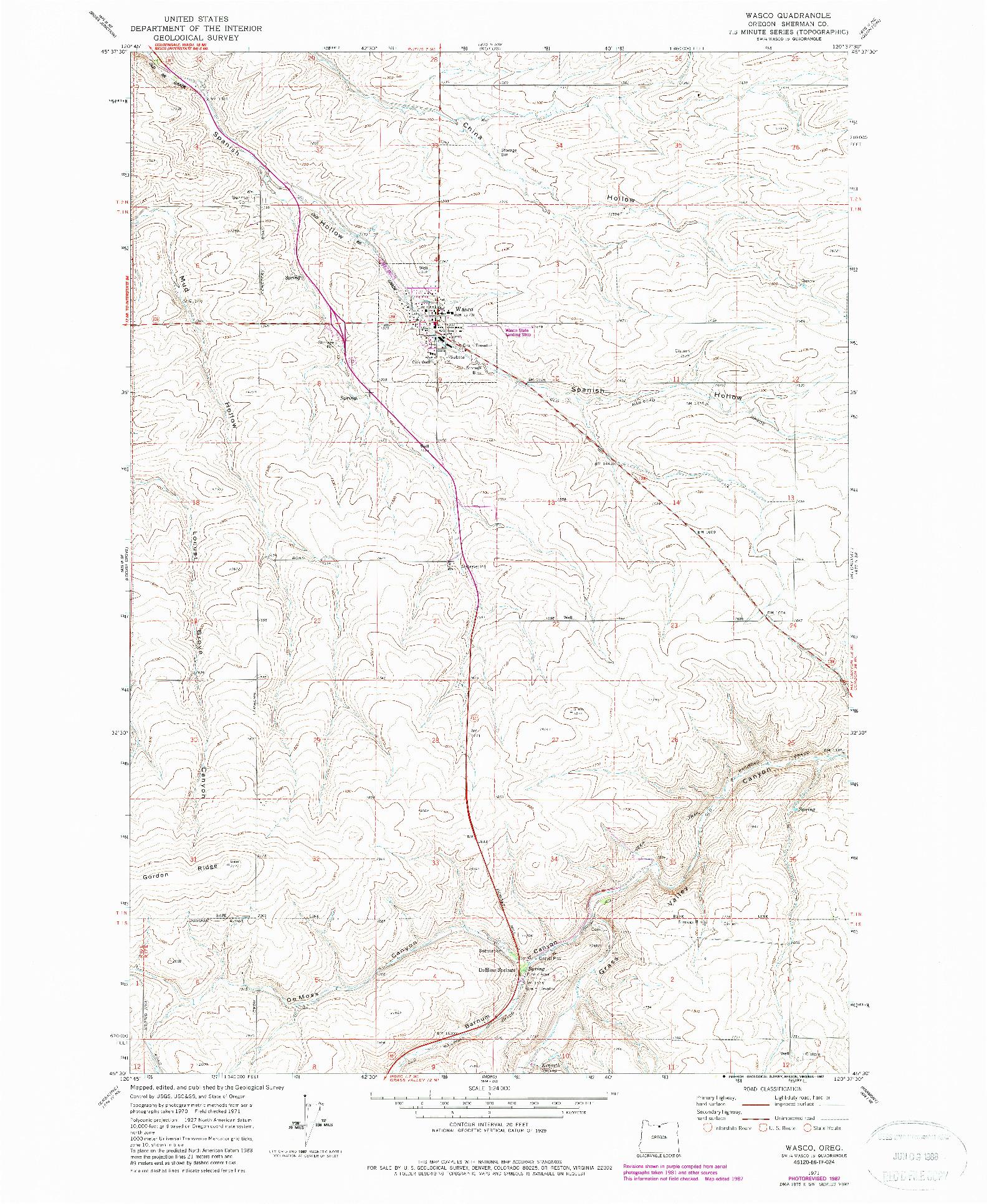 USGS 1:24000-SCALE QUADRANGLE FOR WASCO, OR 1971