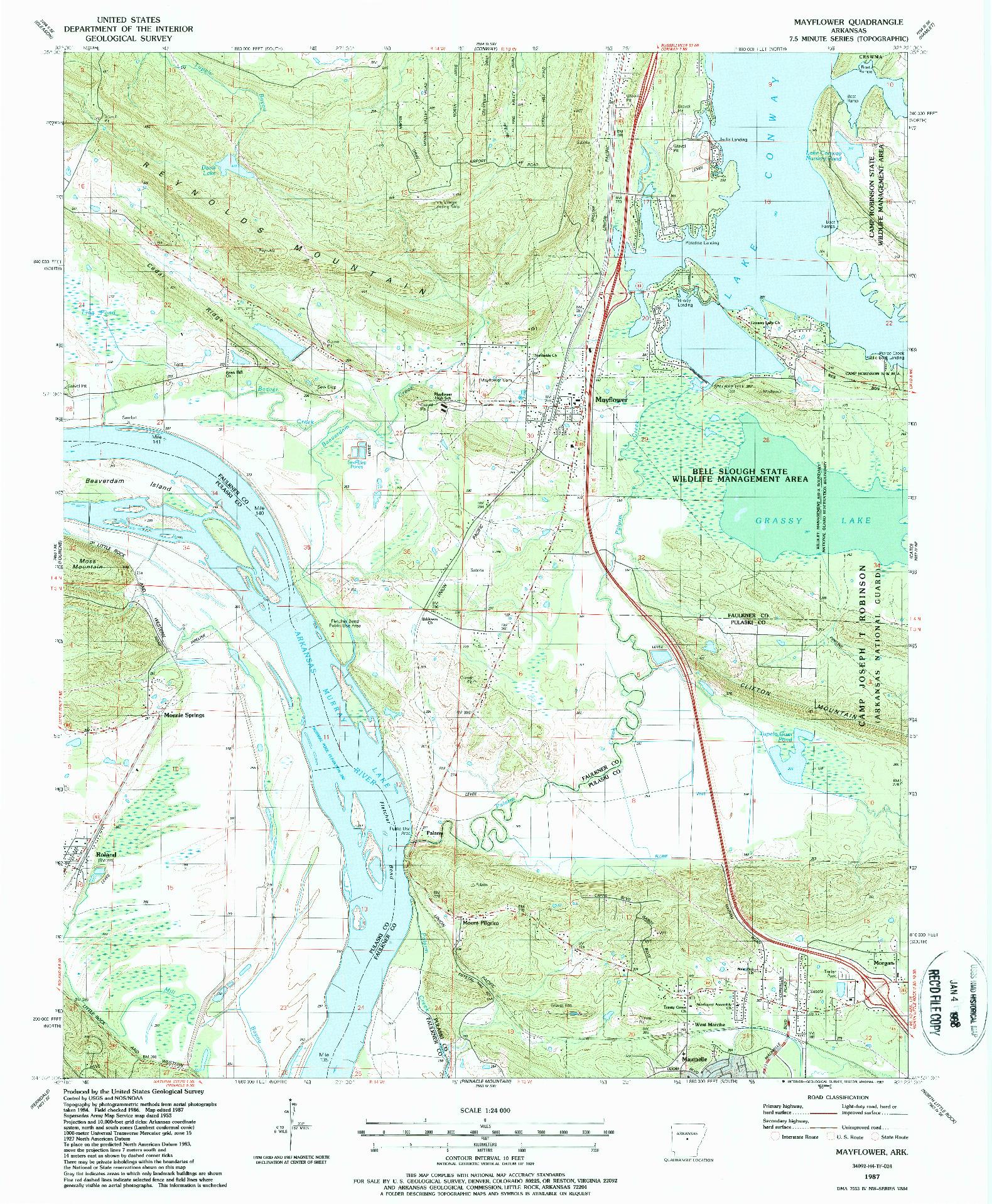 USGS 1:24000-SCALE QUADRANGLE FOR MAYFLOWER, AR 1987