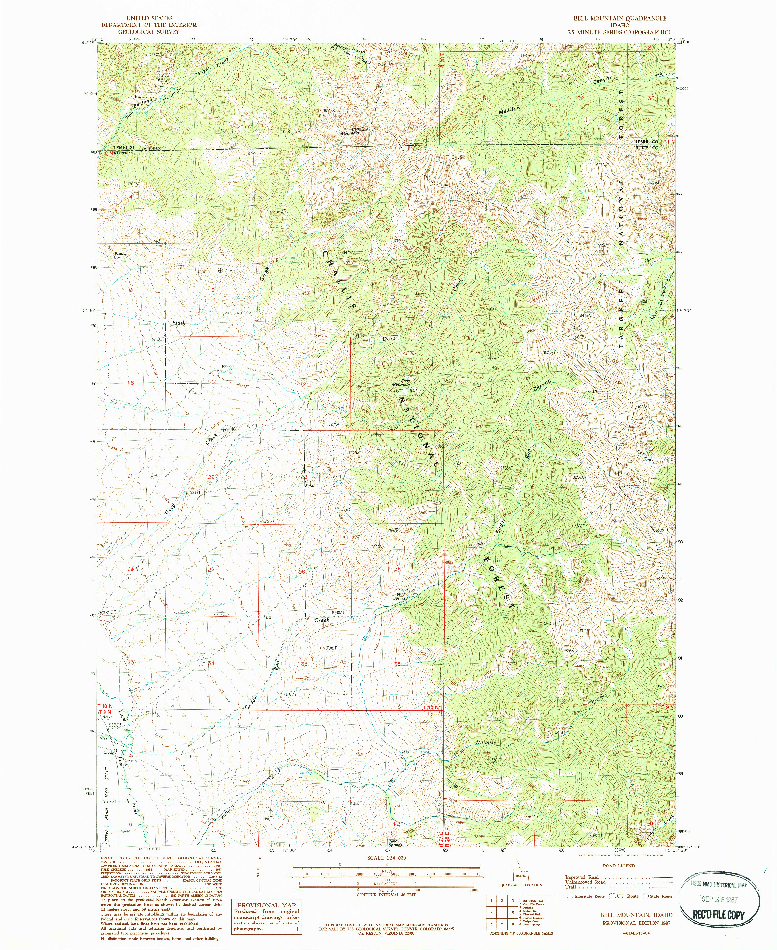 USGS 1:24000-SCALE QUADRANGLE FOR BELL MOUNTAIN, ID 1987