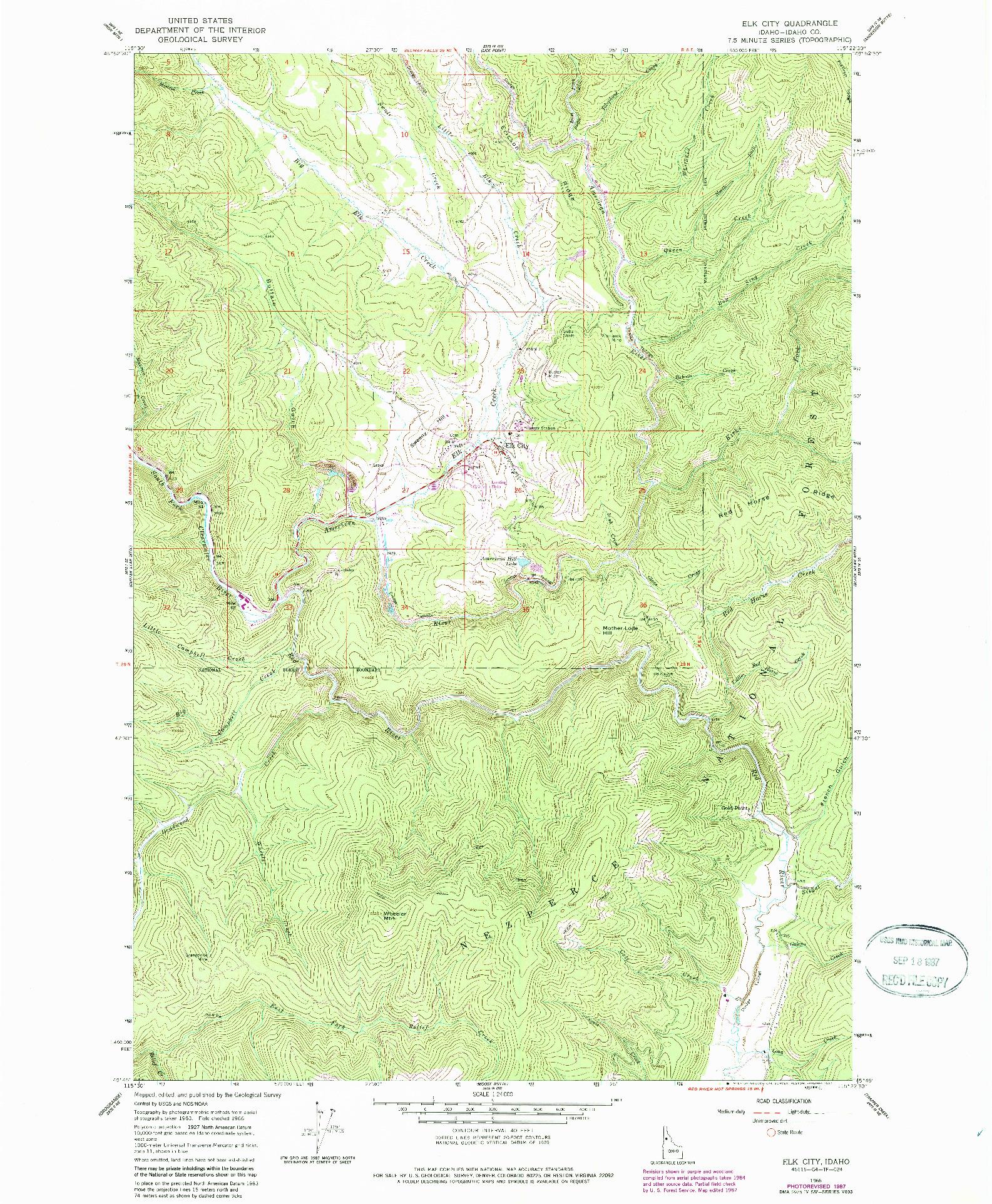 USGS 1:24000-SCALE QUADRANGLE FOR ELK CITY, ID 1966