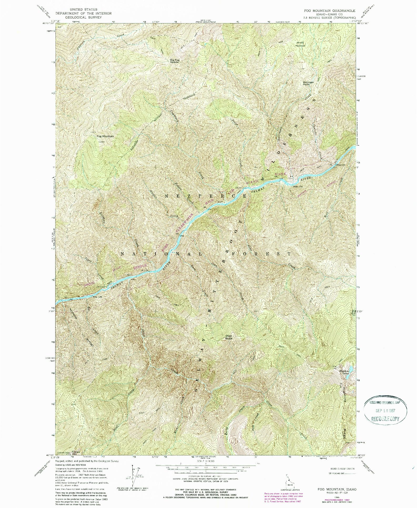 USGS 1:24000-SCALE QUADRANGLE FOR FOG MOUNTAIN, ID 1966
