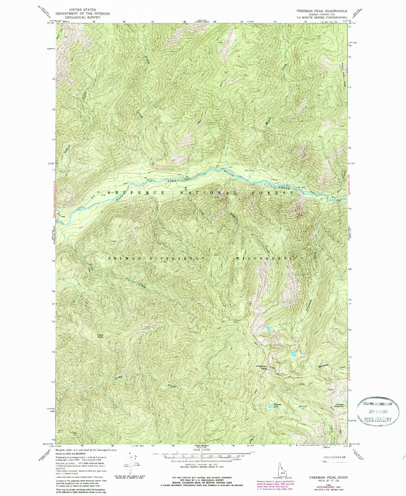 USGS 1:24000-SCALE QUADRANGLE FOR FREEMAN PEAK, ID 1966