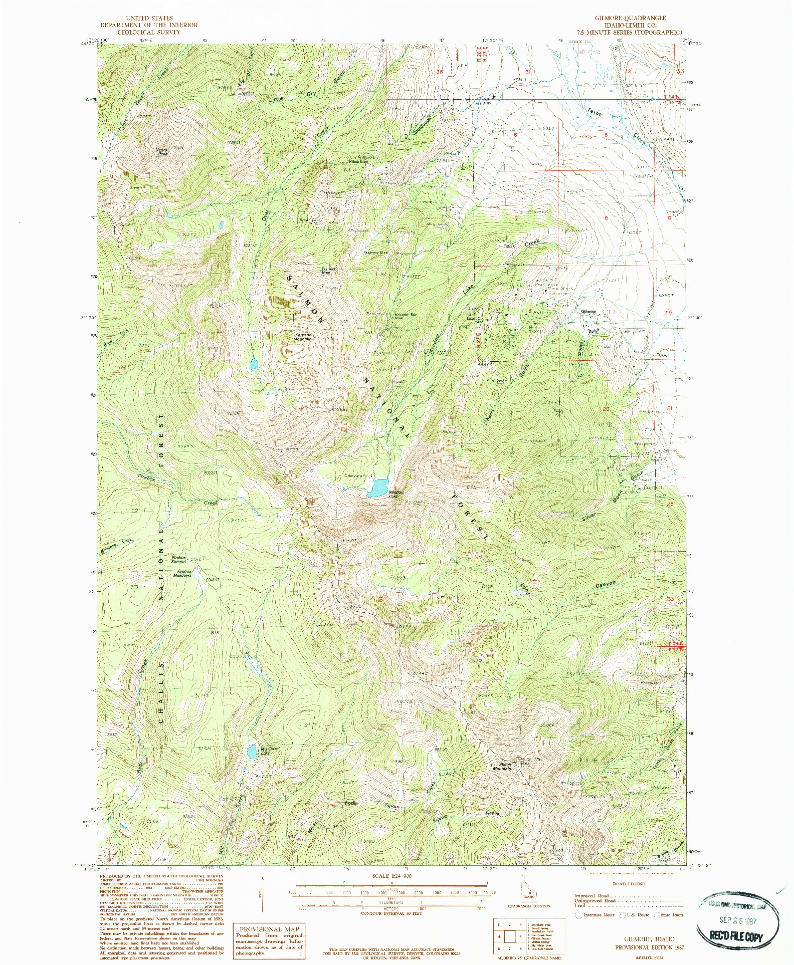 USGS 1:24000-SCALE QUADRANGLE FOR GILMORE, ID 1987