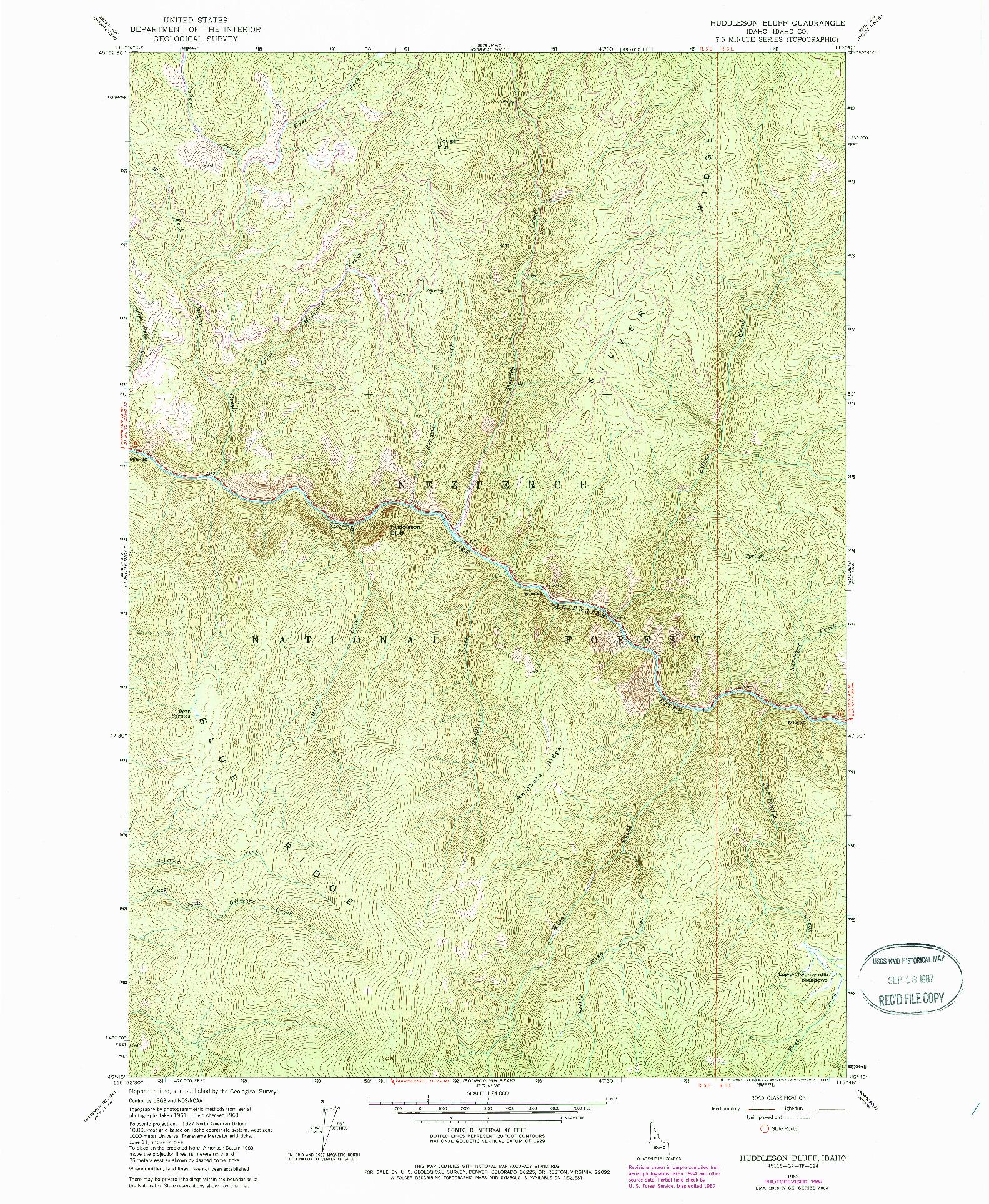 USGS 1:24000-SCALE QUADRANGLE FOR HUDDLESON BLUFF, ID 1963