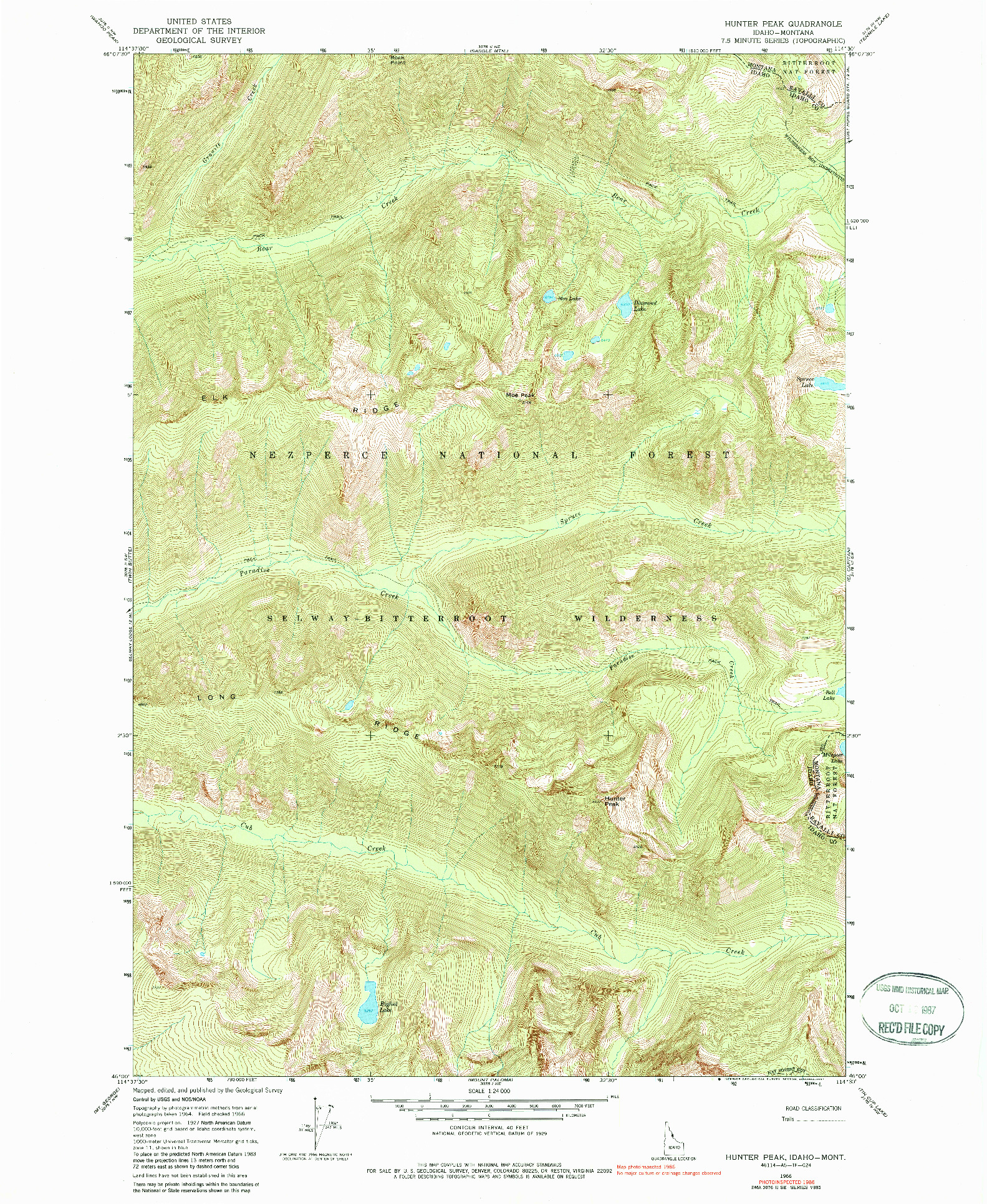 USGS 1:24000-SCALE QUADRANGLE FOR HUNTER PEAK, ID 1966