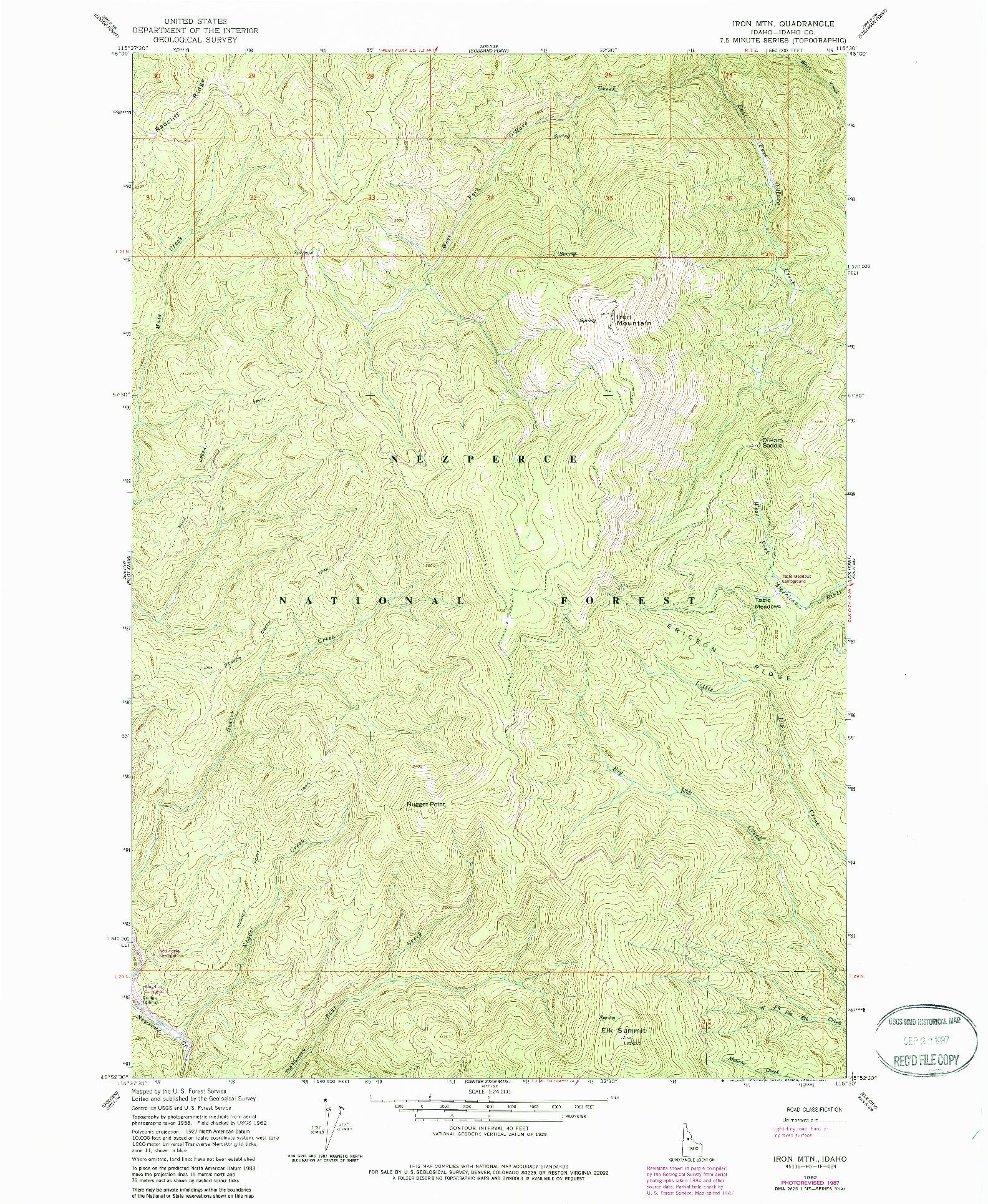 USGS 1:24000-SCALE QUADRANGLE FOR IRON MOUNTAIN, ID 1962