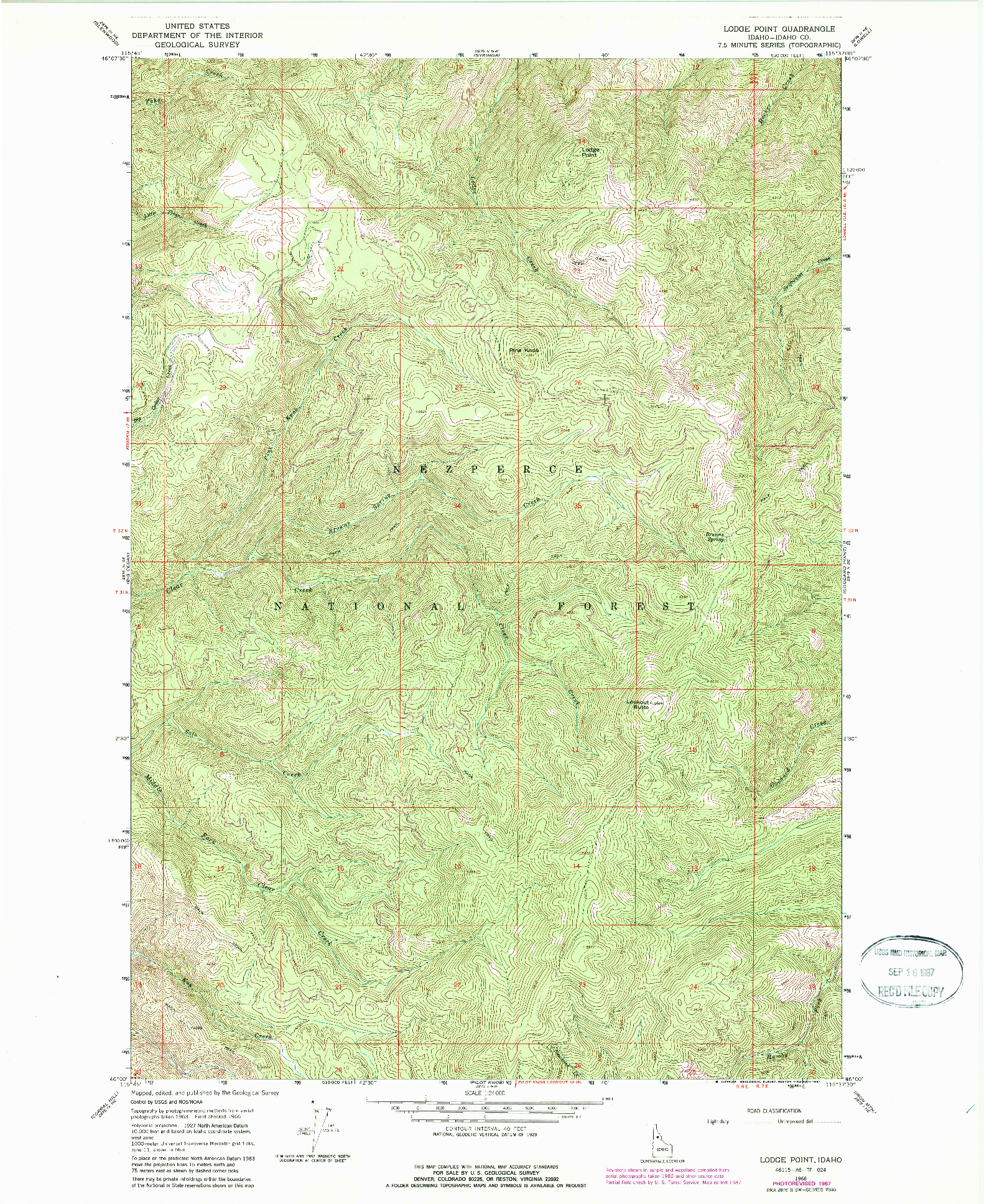 USGS 1:24000-SCALE QUADRANGLE FOR LODGE POINT, ID 1966