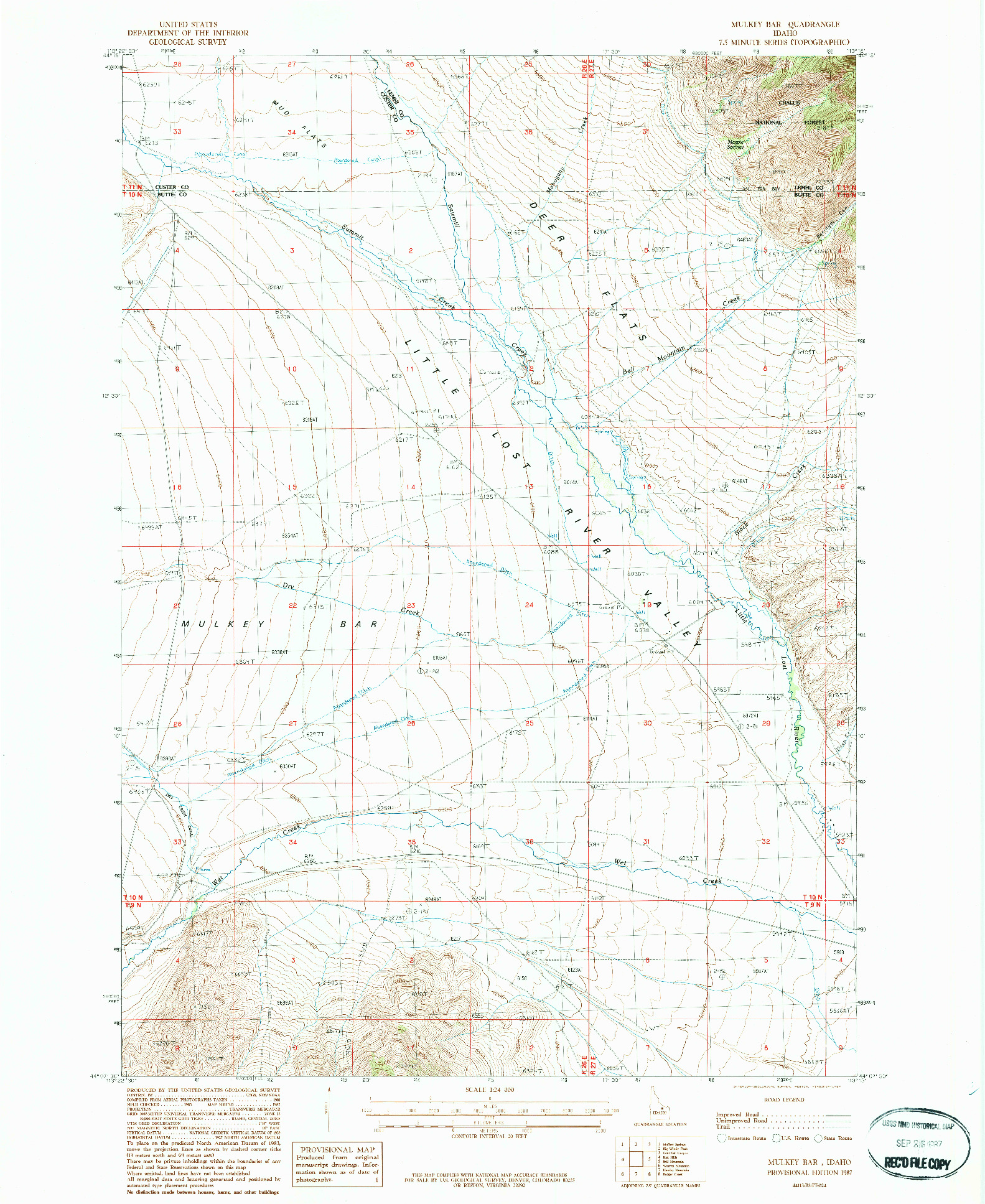 USGS 1:24000-SCALE QUADRANGLE FOR MULKEY BAR, ID 1987