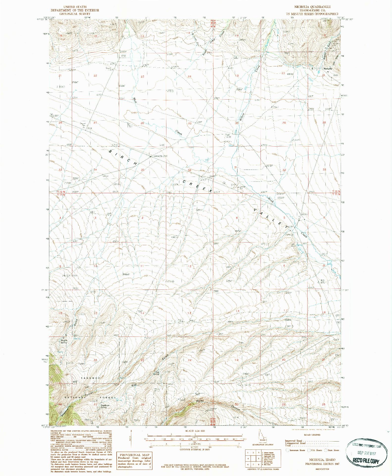 USGS 1:24000-SCALE QUADRANGLE FOR NICHOLIA, ID 1987