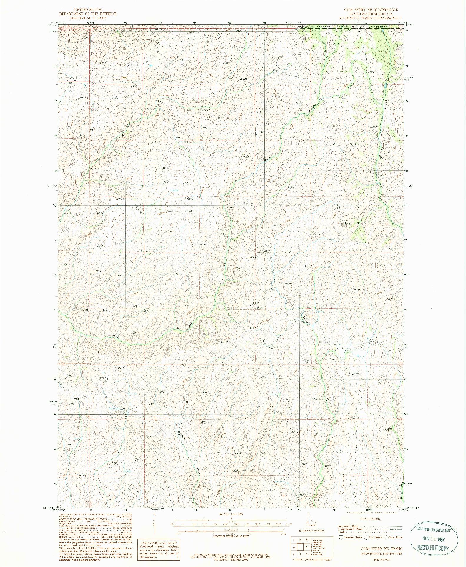 USGS 1:24000-SCALE QUADRANGLE FOR OLDS FERRY NE, ID 1987