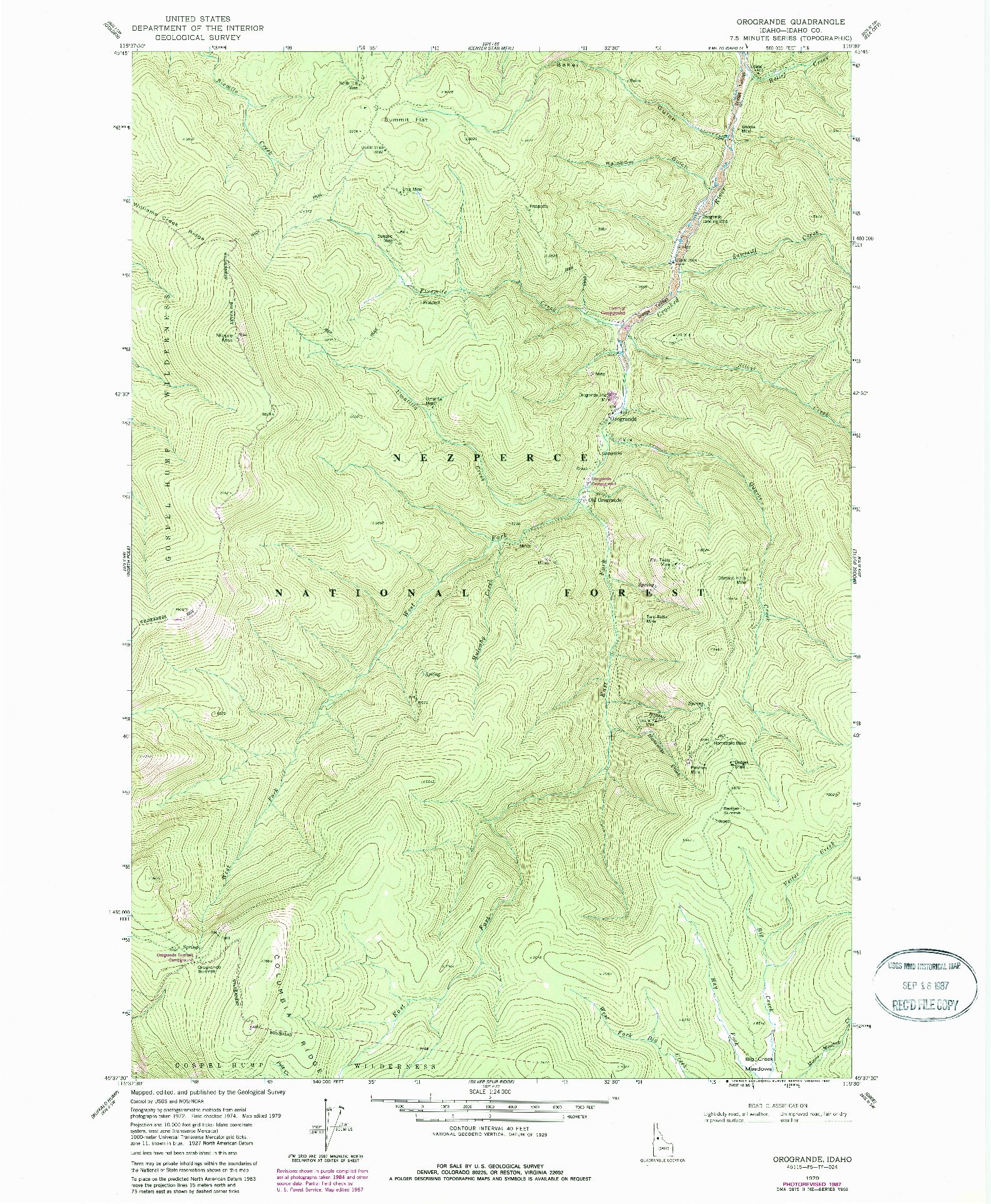 USGS 1:24000-SCALE QUADRANGLE FOR OROGRANDE, ID 1979