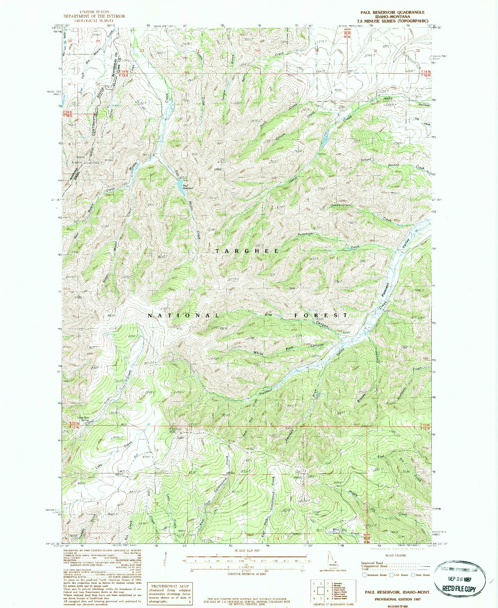 USGS 1:24000-SCALE QUADRANGLE FOR PAUL RESERVOIR, ID 1987