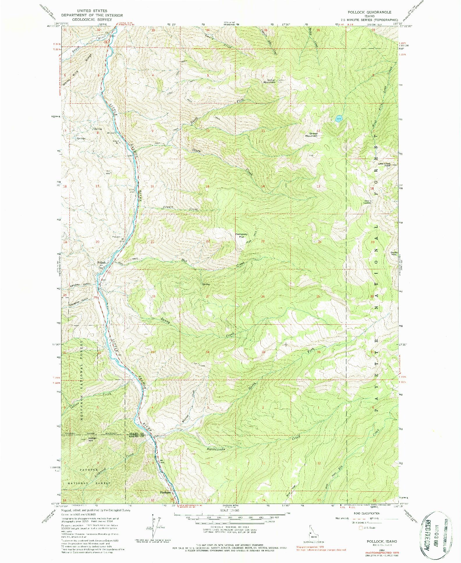 USGS 1:24000-SCALE QUADRANGLE FOR POLLOCK, ID 1964