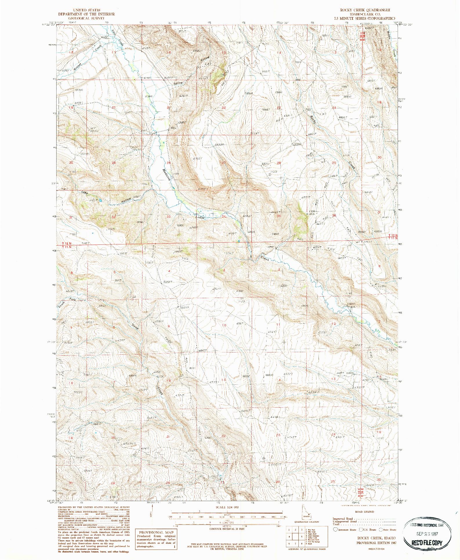 USGS 1:24000-SCALE QUADRANGLE FOR ROCKY CREEK, ID 1987
