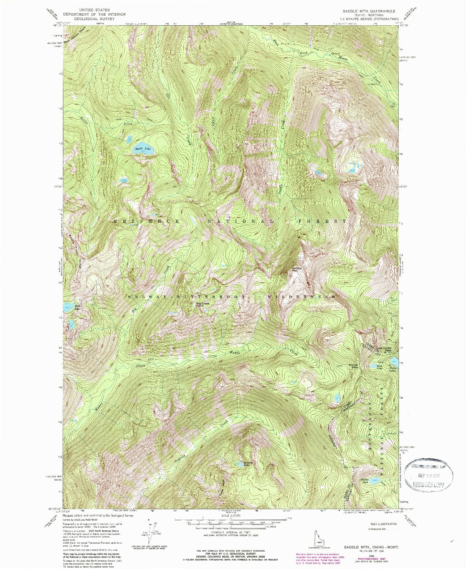 USGS 1:24000-SCALE QUADRANGLE FOR SADDLE MOUNTAIN, ID 1966