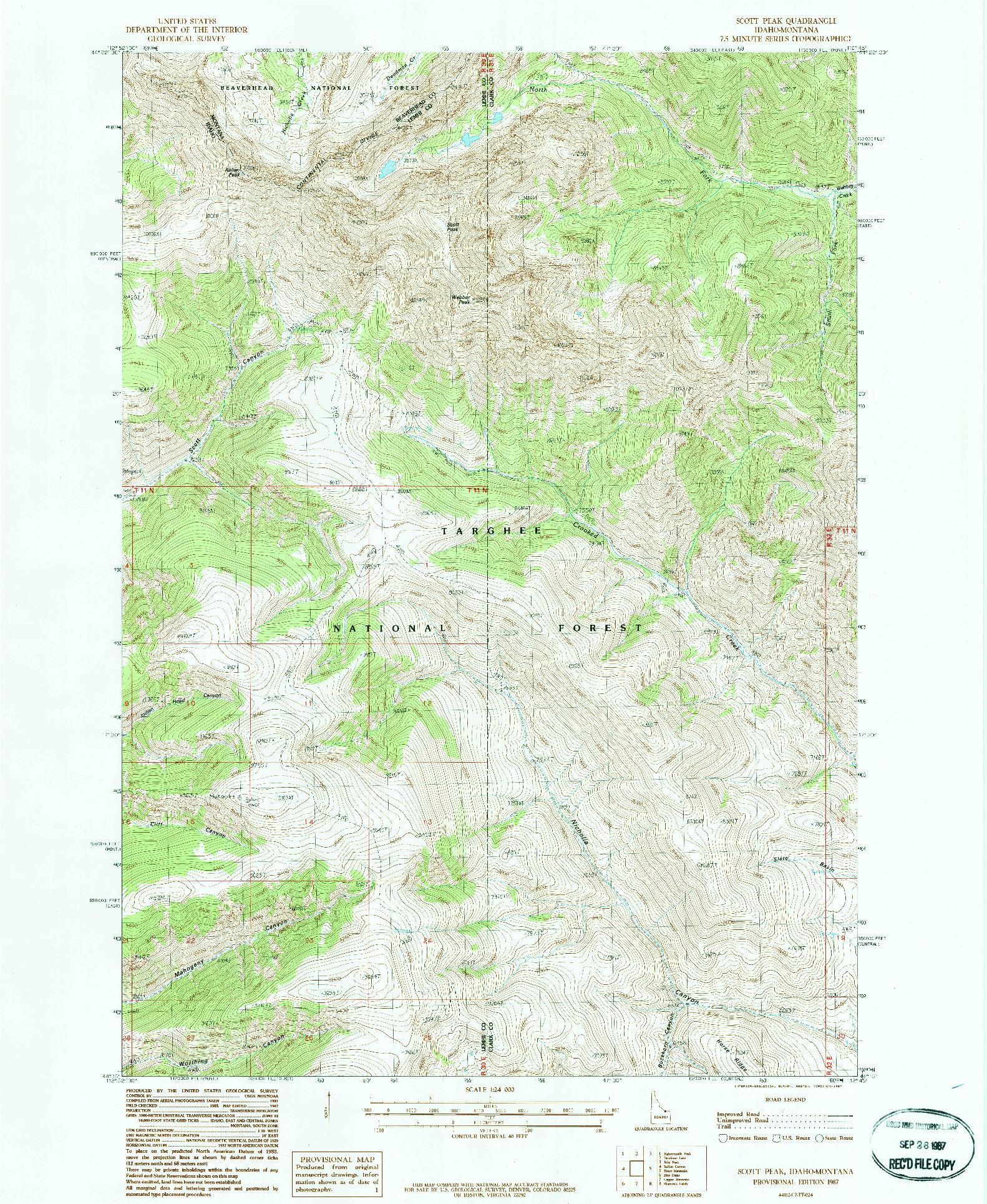 USGS 1:24000-SCALE QUADRANGLE FOR SCOTT PEAK, ID 1987